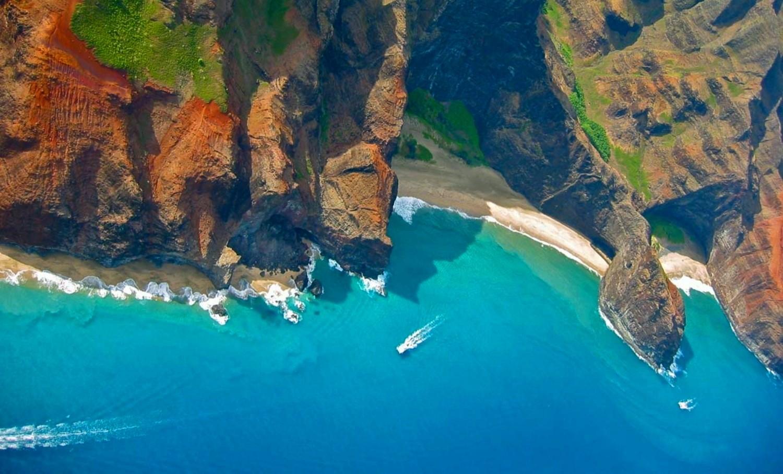 Mountain Kauai Beach Cliff Sea Sand Shrubs Aerial: Wallpaper : Landscape, Mountains, Sea, Nature, Sand, Beach