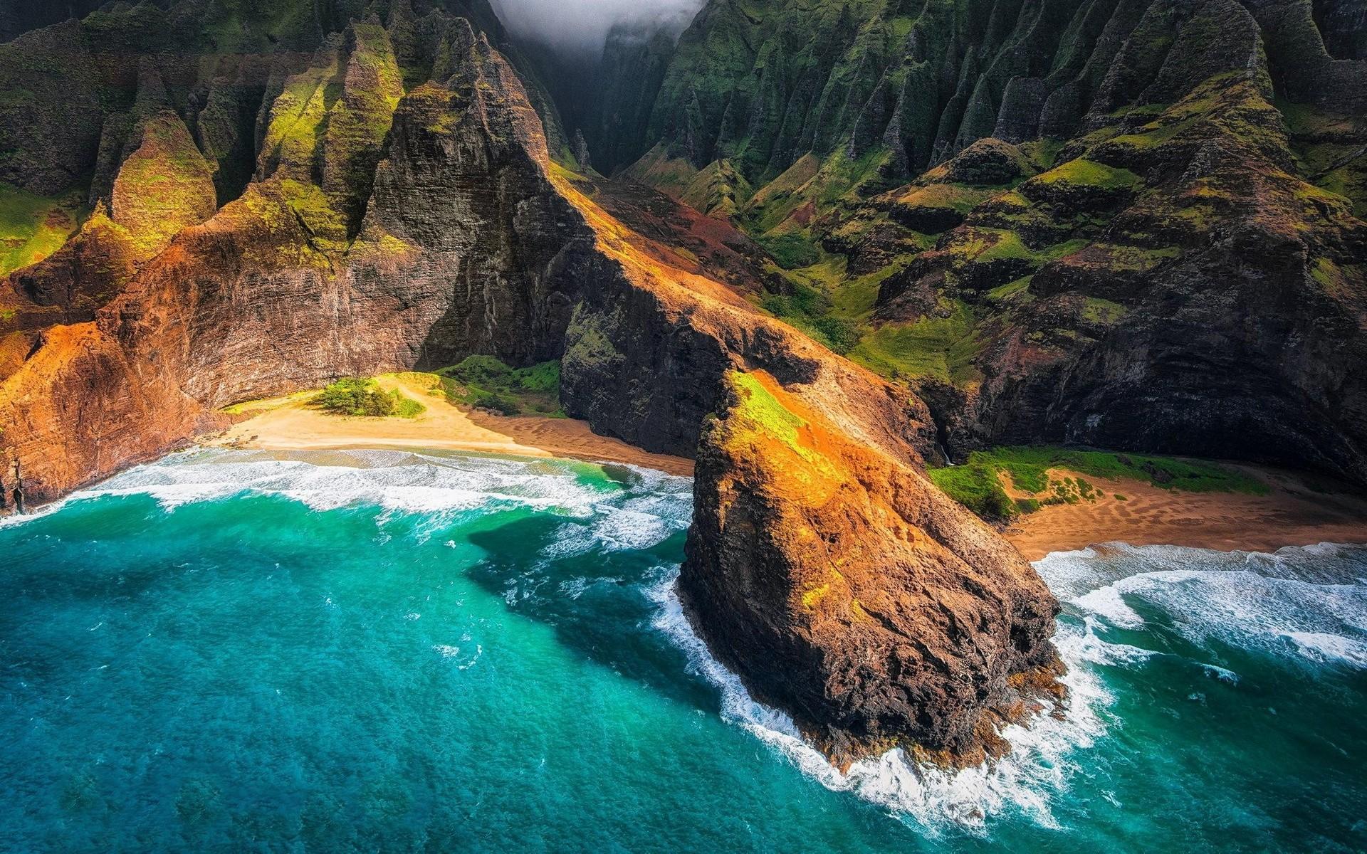 Mountain Kauai Beach Cliff Sea Sand Shrubs Aerial: Wallpaper : Landscape, Mountains, Waterfall, Sea, Nature