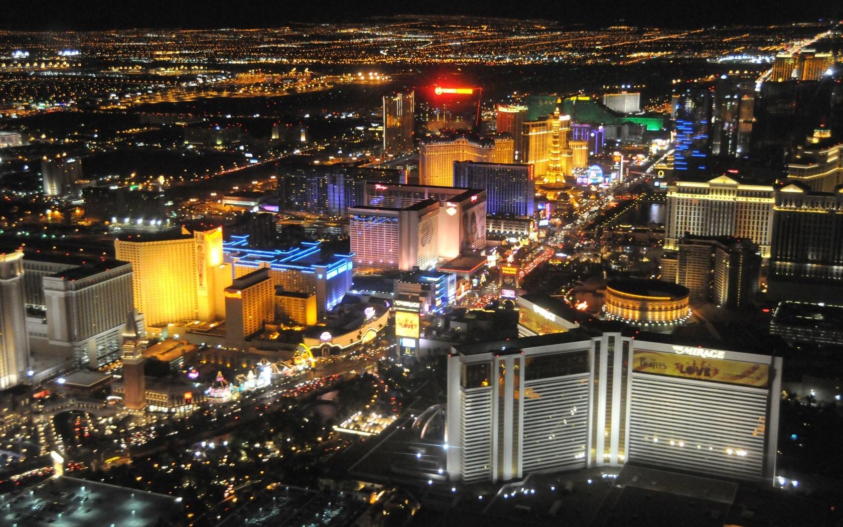 Wallpaper Landscape Night City Las Vegas Metropolis