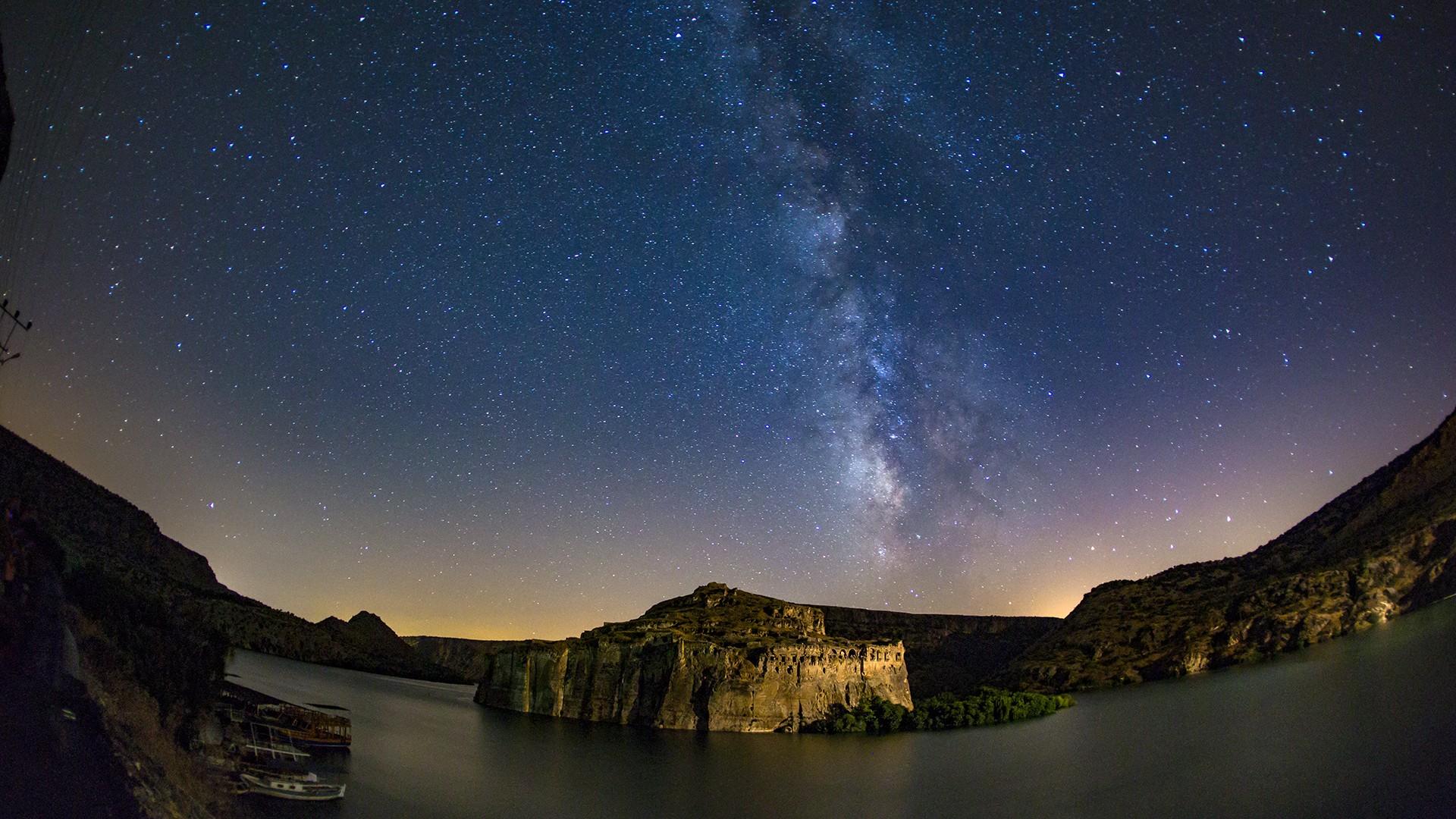 Wallpaper Landscape Night Galaxy Water Nature Reflection Sky