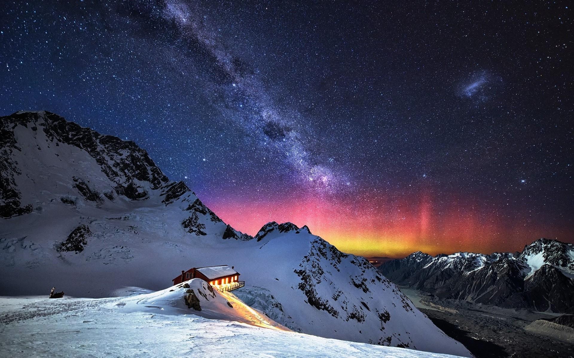 Wallpaper Landscape Night Nature Snow Stars Milky Way