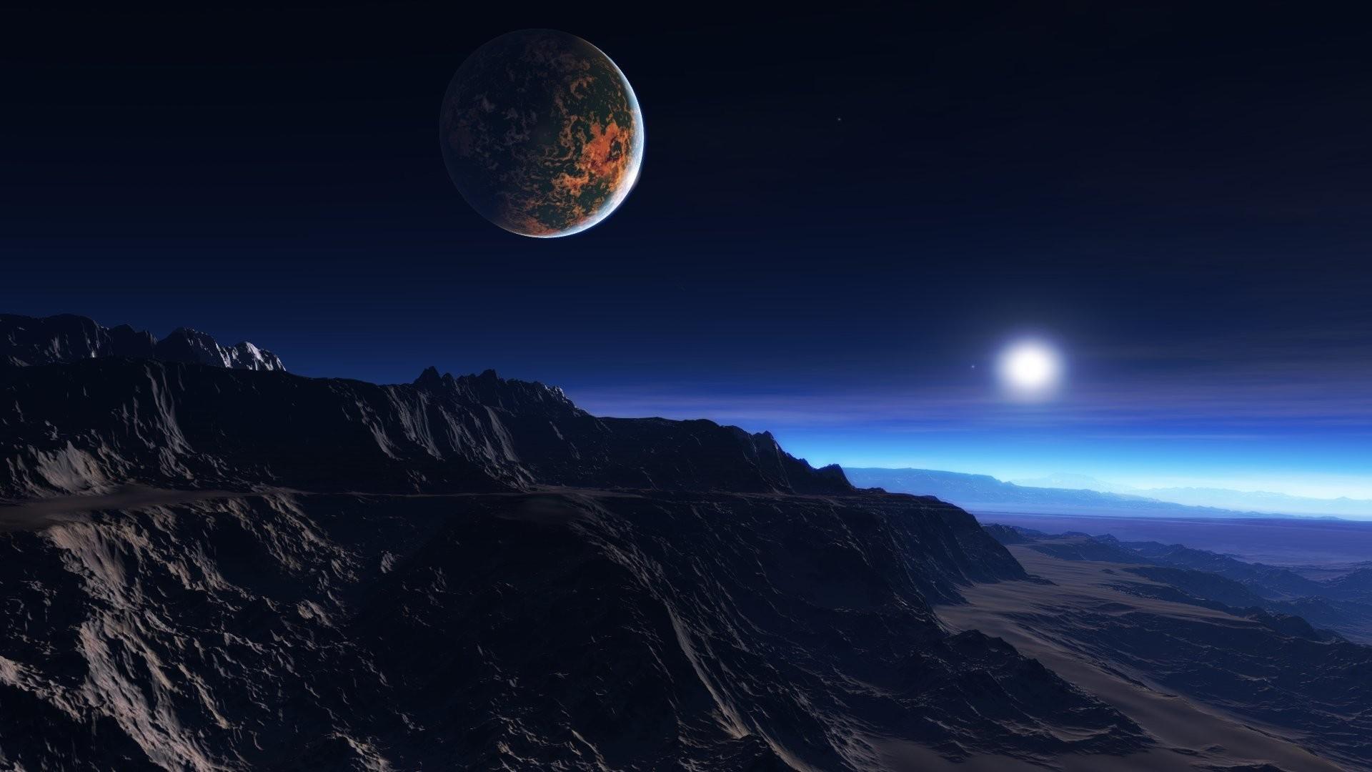 Fond d 39 cran paysage nuit plan te espace ciel terre for Paysage espace