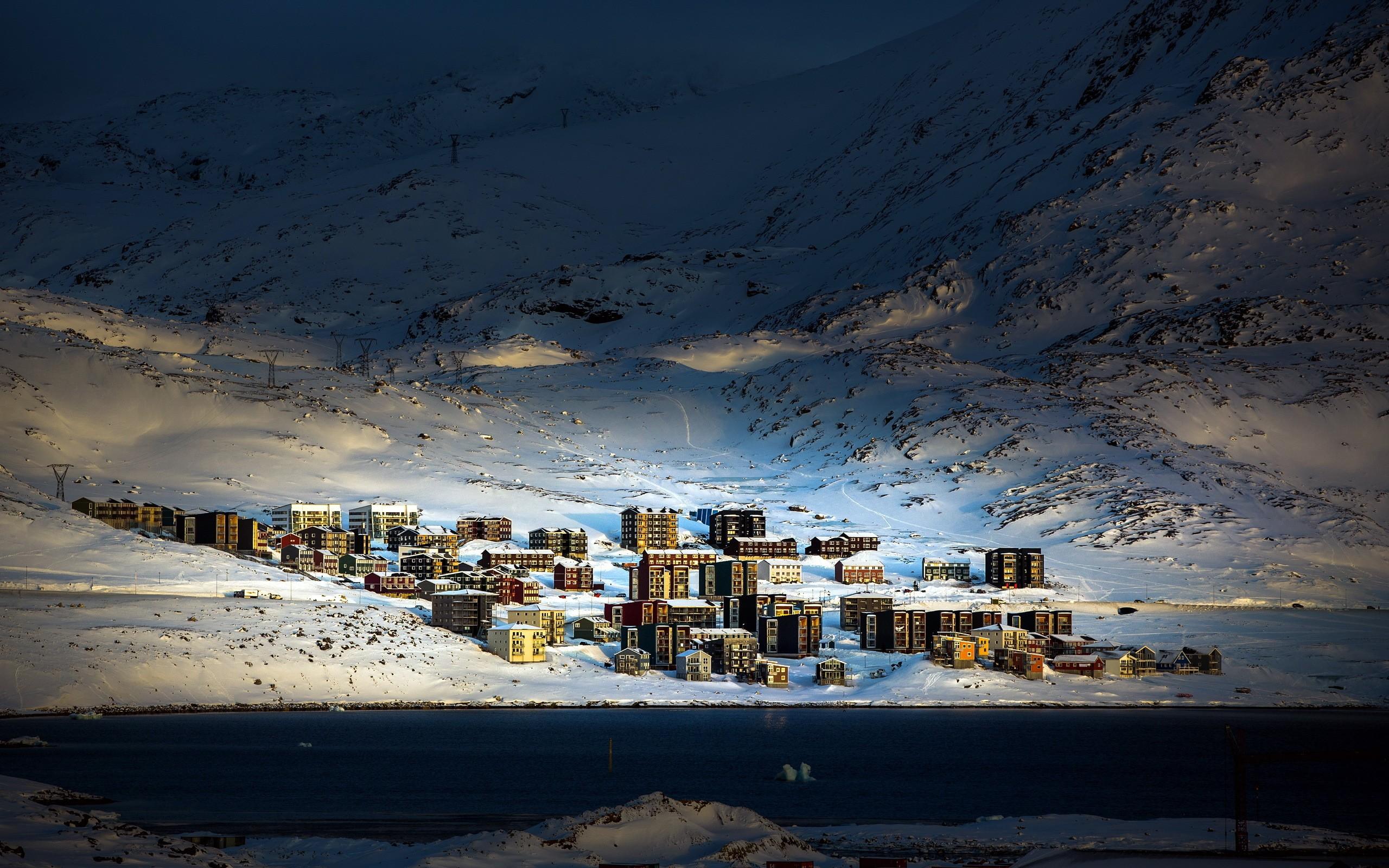 Wallpaper : landscape, night, reflection, snow, winter, ice