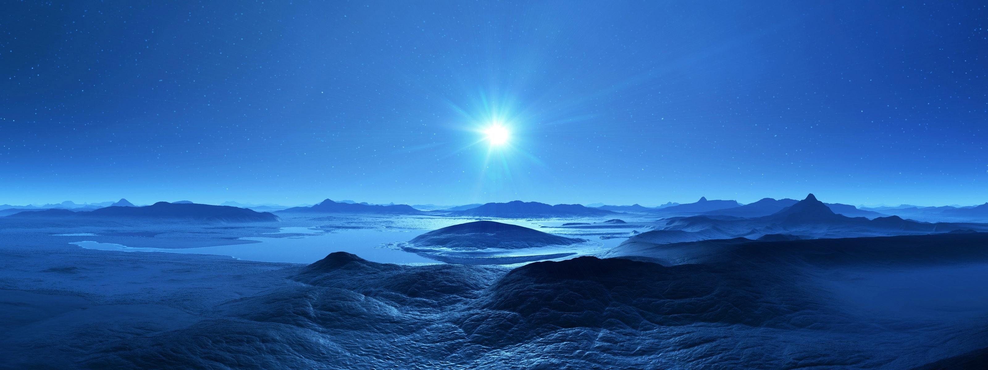 デスクトップ壁紙 風景 地球 氷 月光 地平線 雰囲気 マルチ