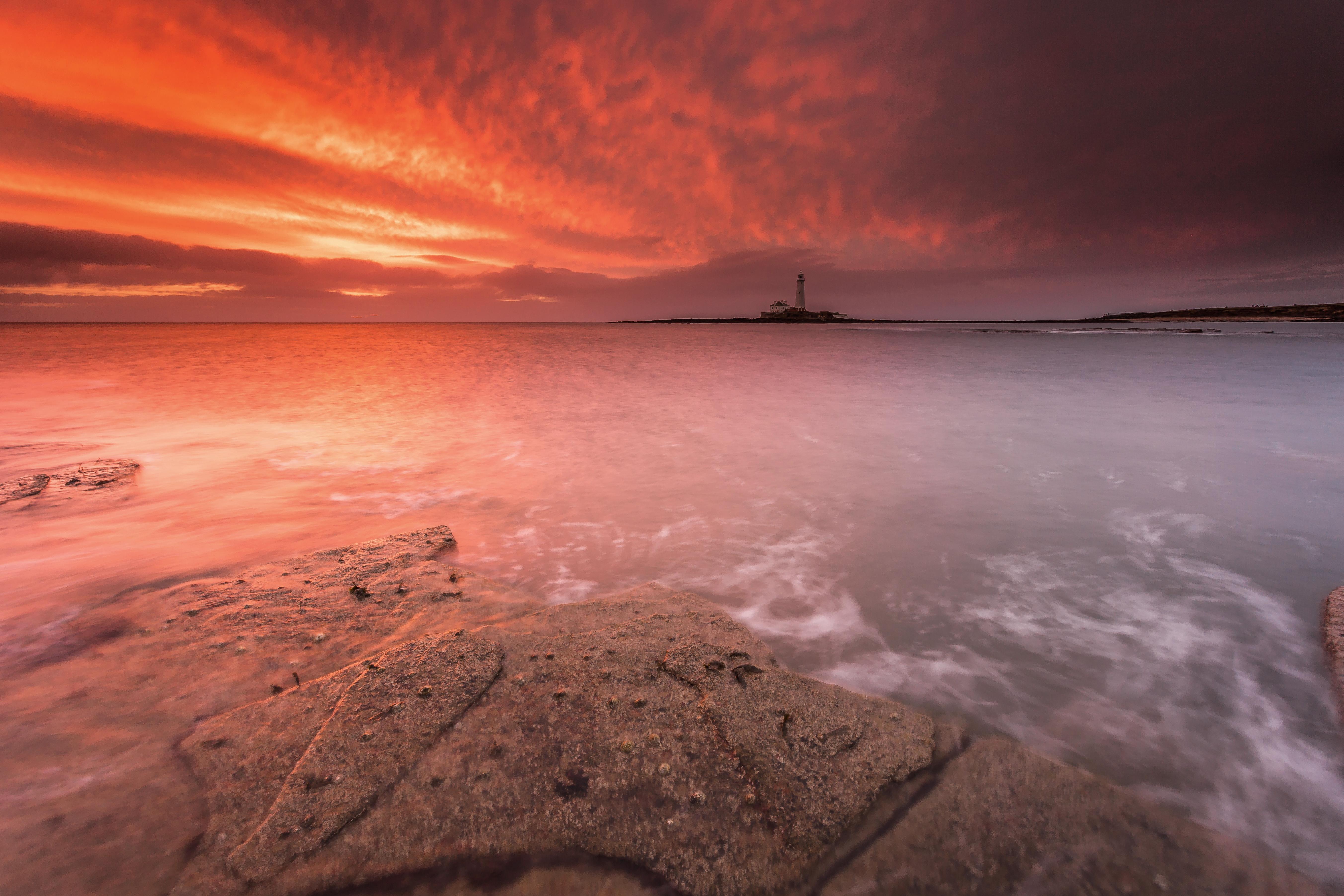 Wallpaper Tua Matahari Terbenam Teluk Air Pantai Matahari