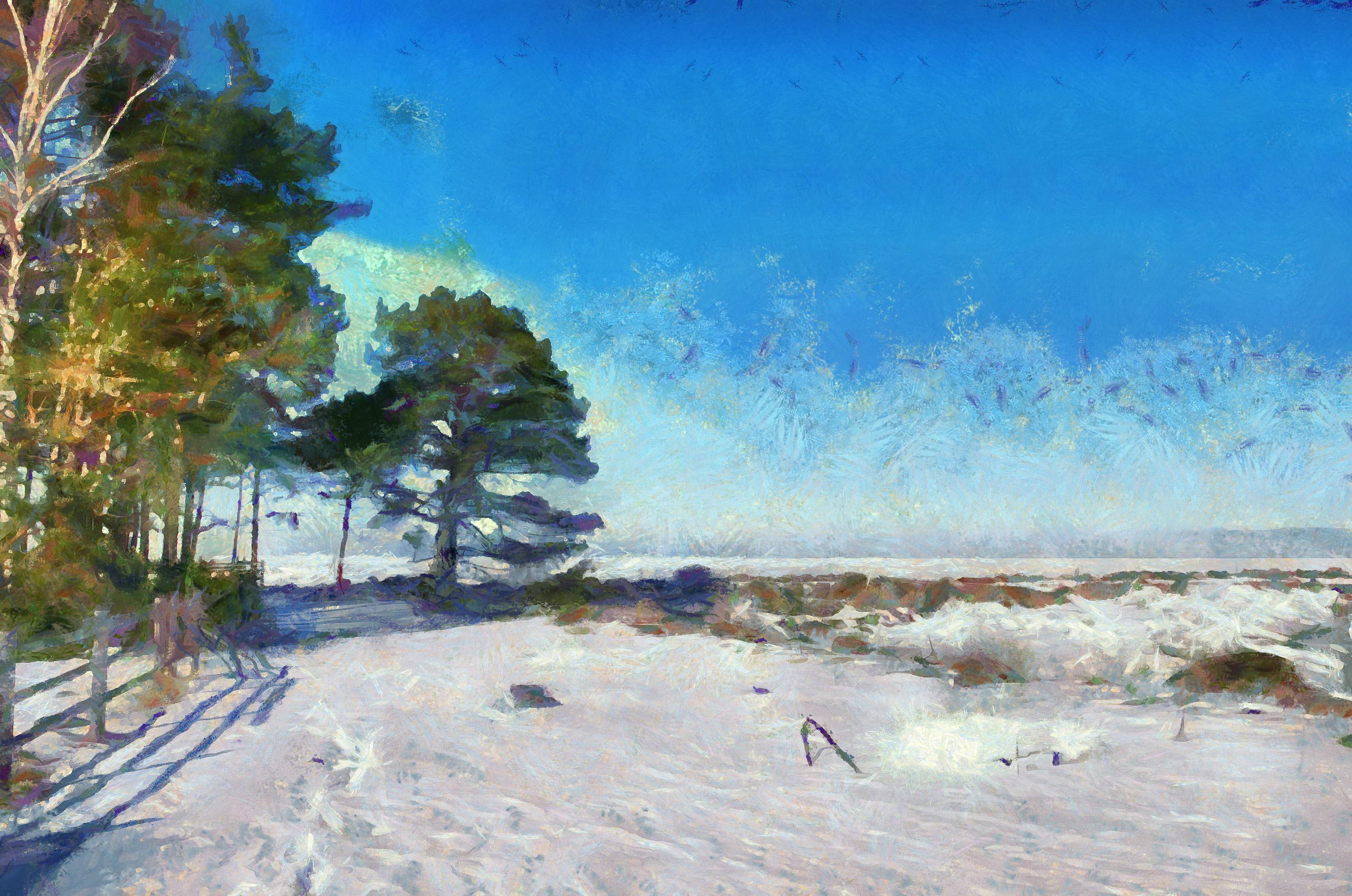 Masaüstü Manzara Boyama Photoshop Deniz Su Kıyı Gökyüzü Kış