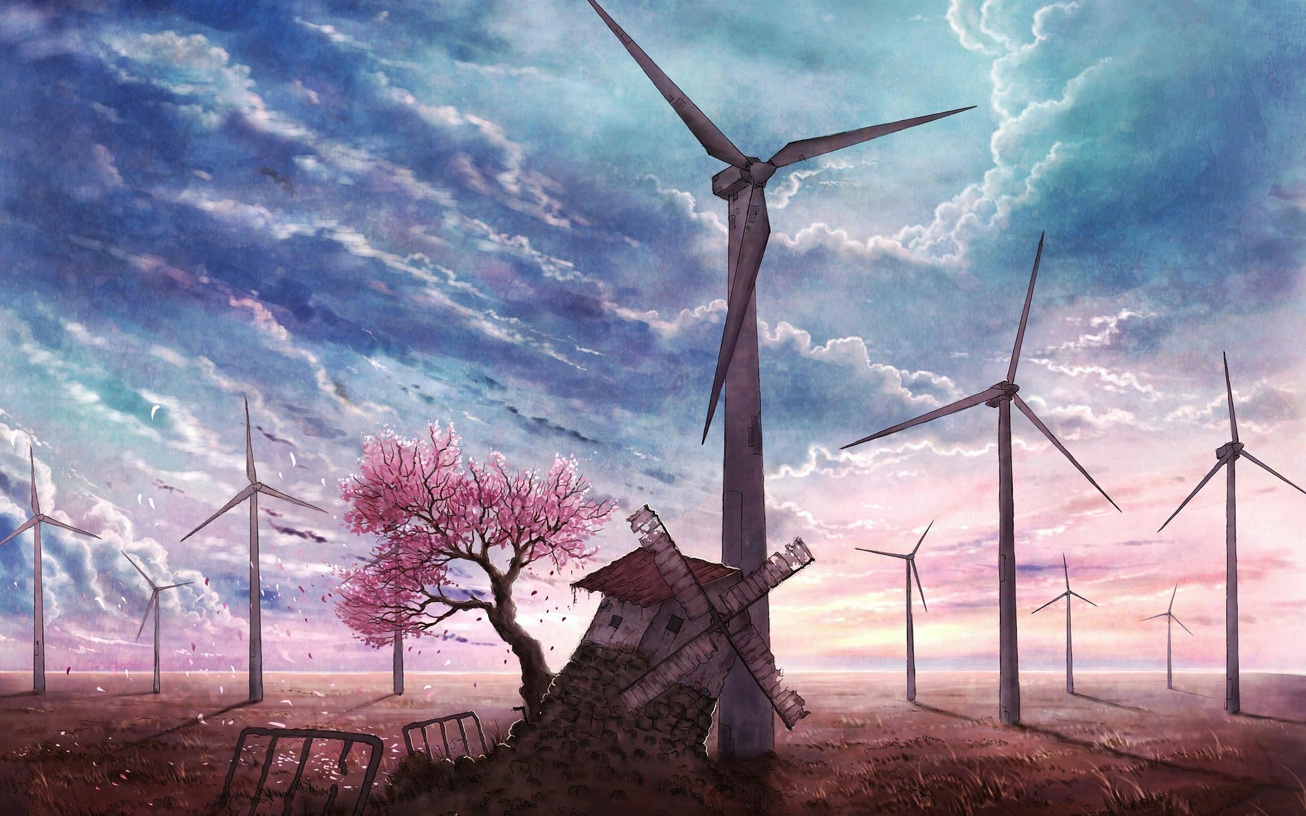 Masaüstü Manzara Boyama Anime Gökyüzü Yel Değirmeni Makine