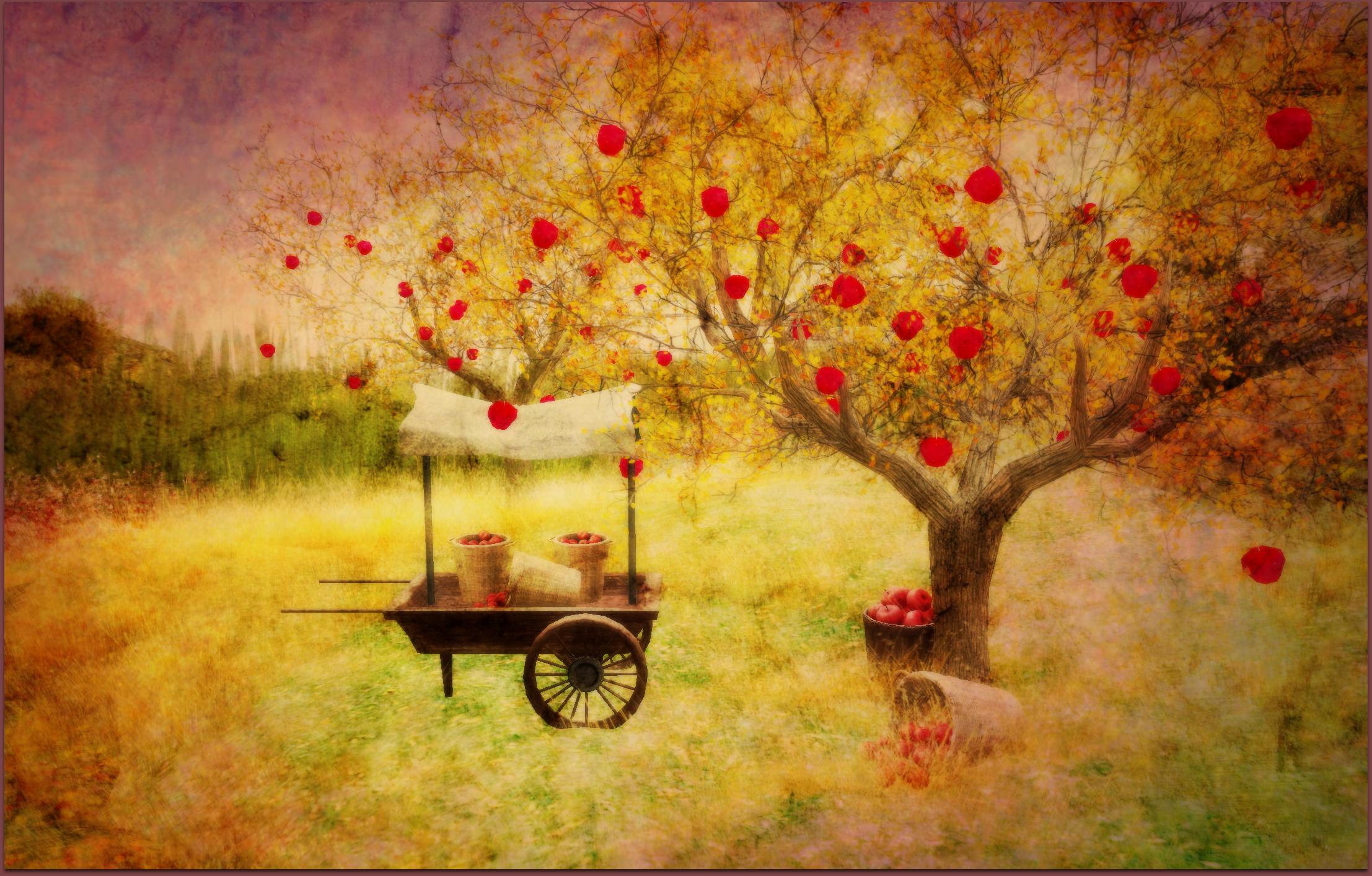 Masaüstü Manzara Boyama şube Elmalar Doku çiçeği Sanat Ağaç