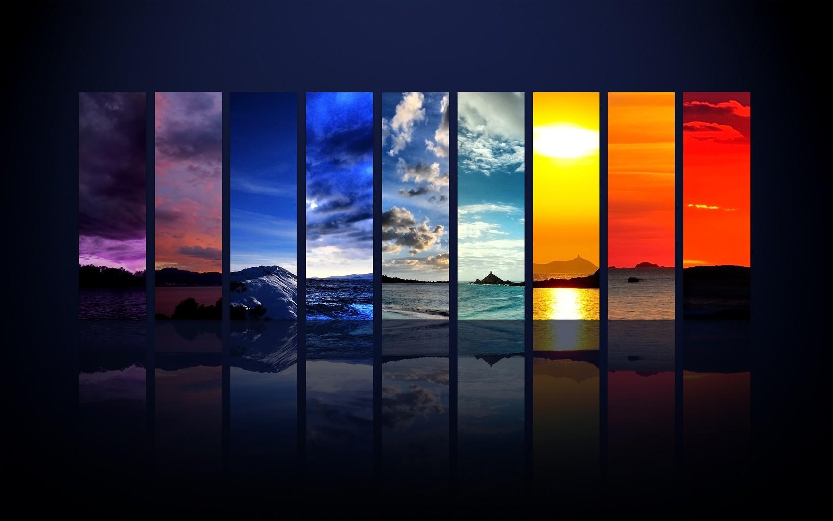 デスクトップ壁紙 風景 ペインティング デジタルアート 反射 空