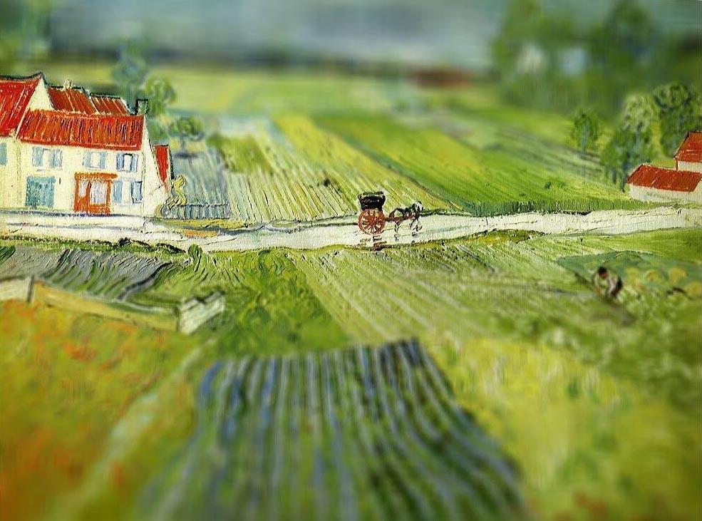 Wallpaper Pemandangan Lukisan Bidang Hijau Tanah Pertanian