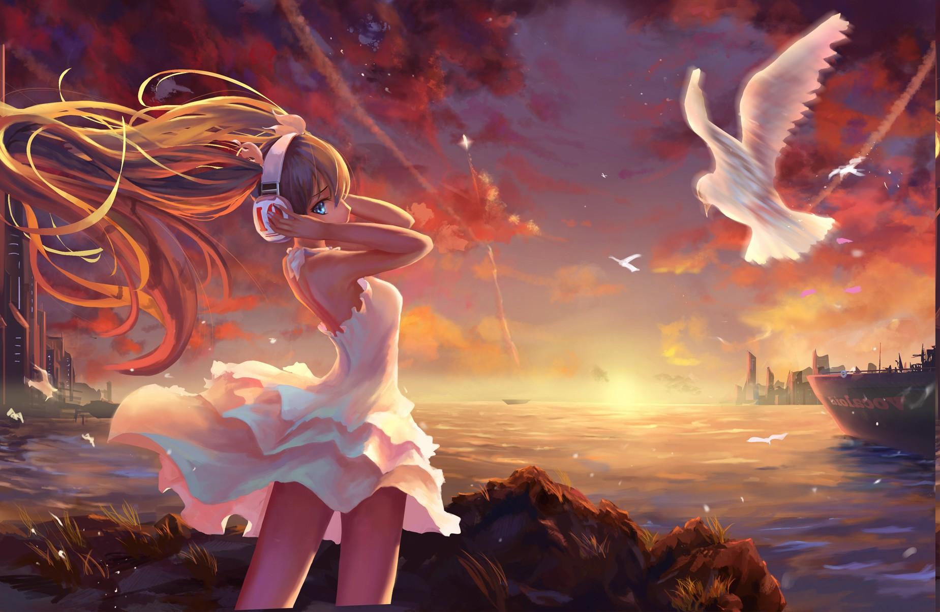 Masaüstü Manzara Boyama Illüstrasyon Sarışın Deniz Anime