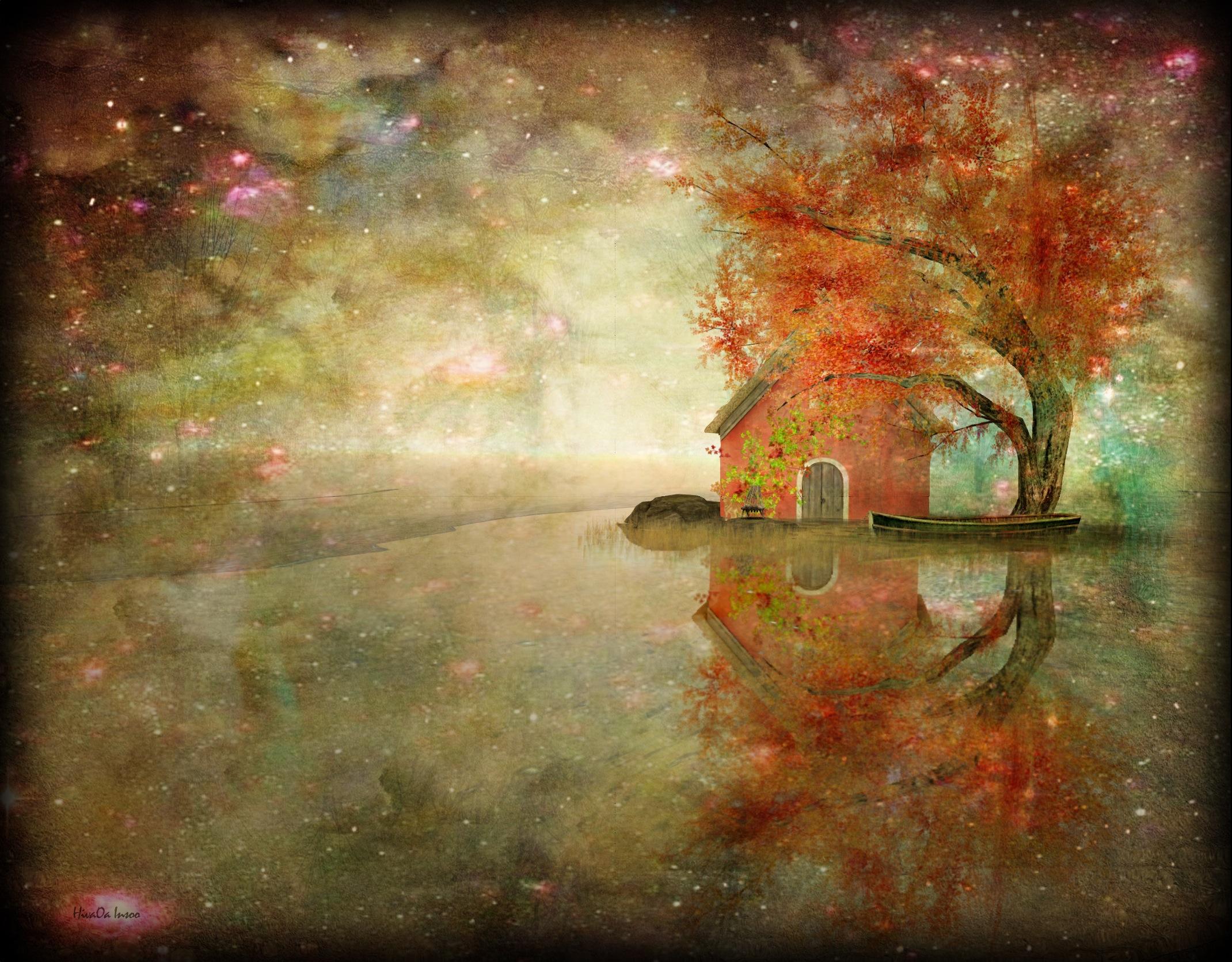 Fond D écran Paysage La Peinture Réflexion Nébuleuse Texture
