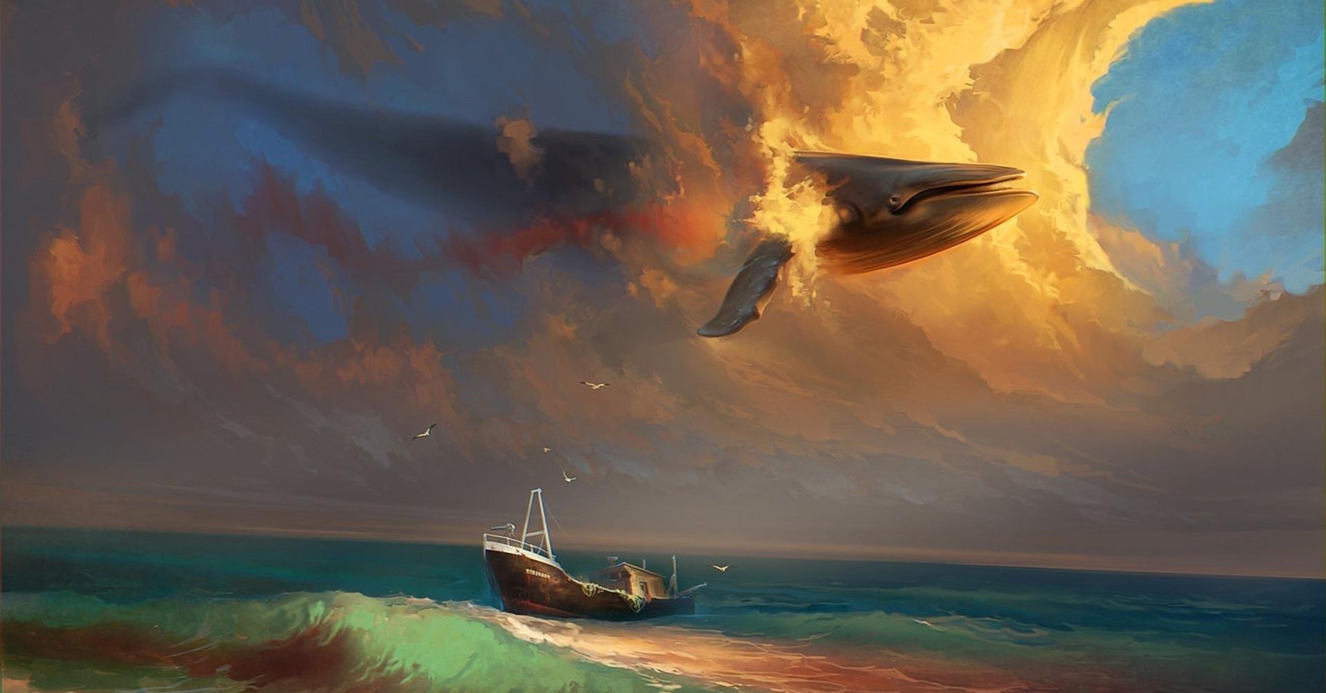 Wallpaper Pemandangan Lukisan Laut Air Langit Tenang