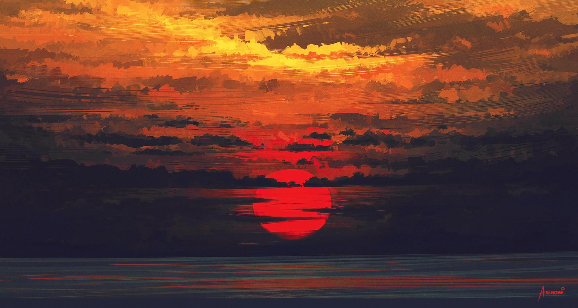 Fond Décran Paysage La Peinture Le Coucher Du Soleil Réflexion