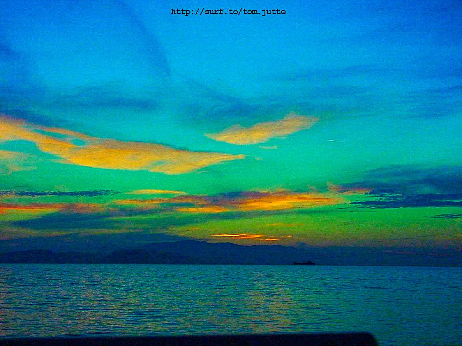 Wallpaper Pemandangan Lukisan Matahari Terbenam Laut Air Alam