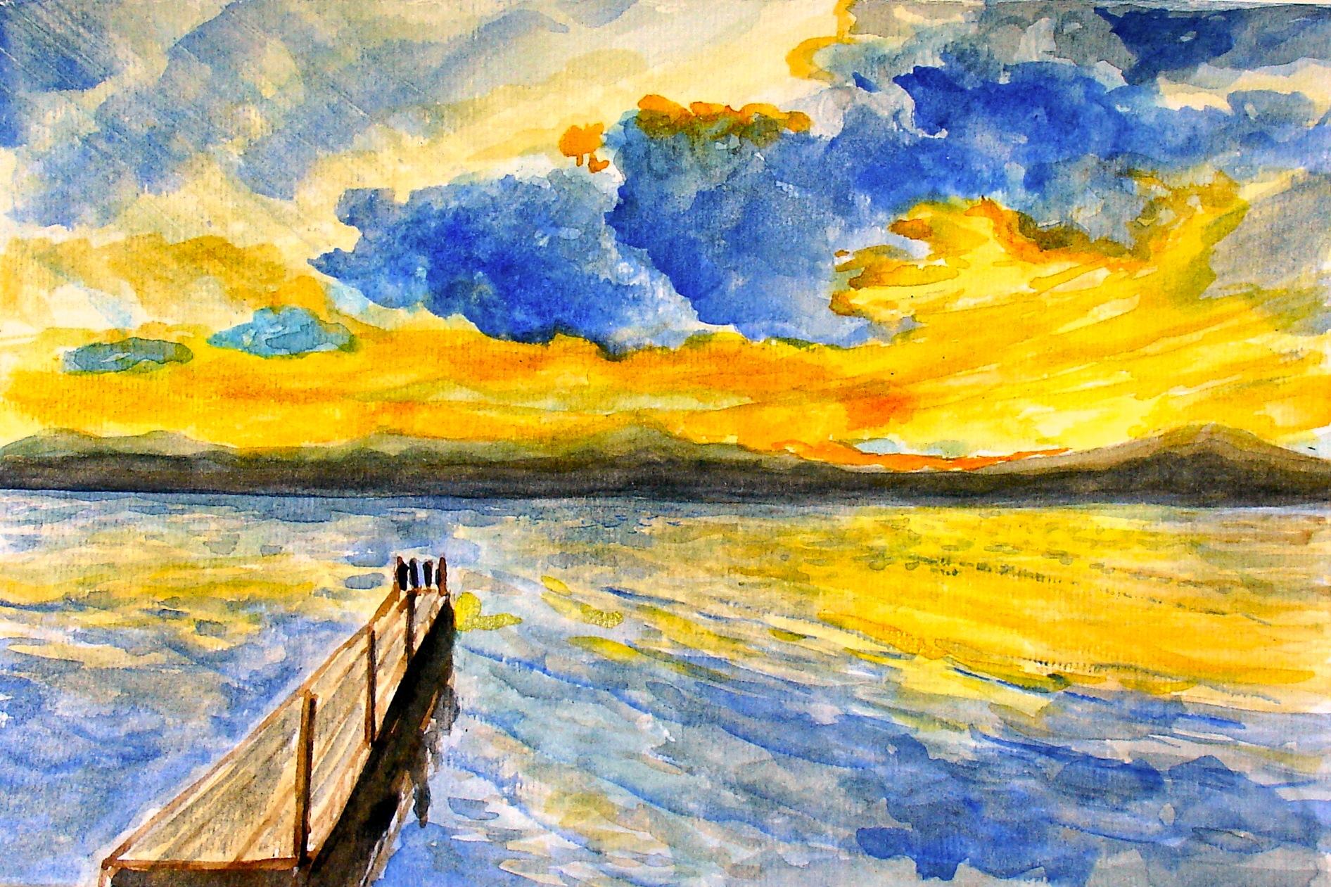 Masaüstü Manzara Boyama Gün Batımı Deniz Su Kıyı Gökyüzü