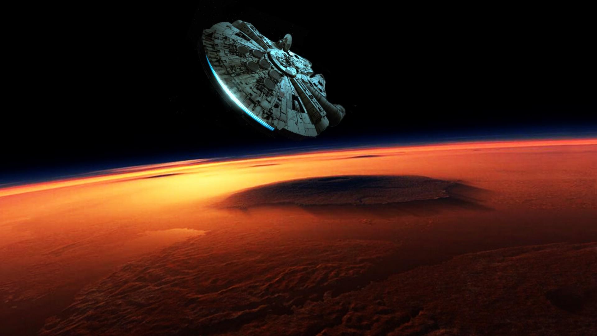 Fond d 39 cran paysage plan te espace ciel terre - Paysage star wars ...