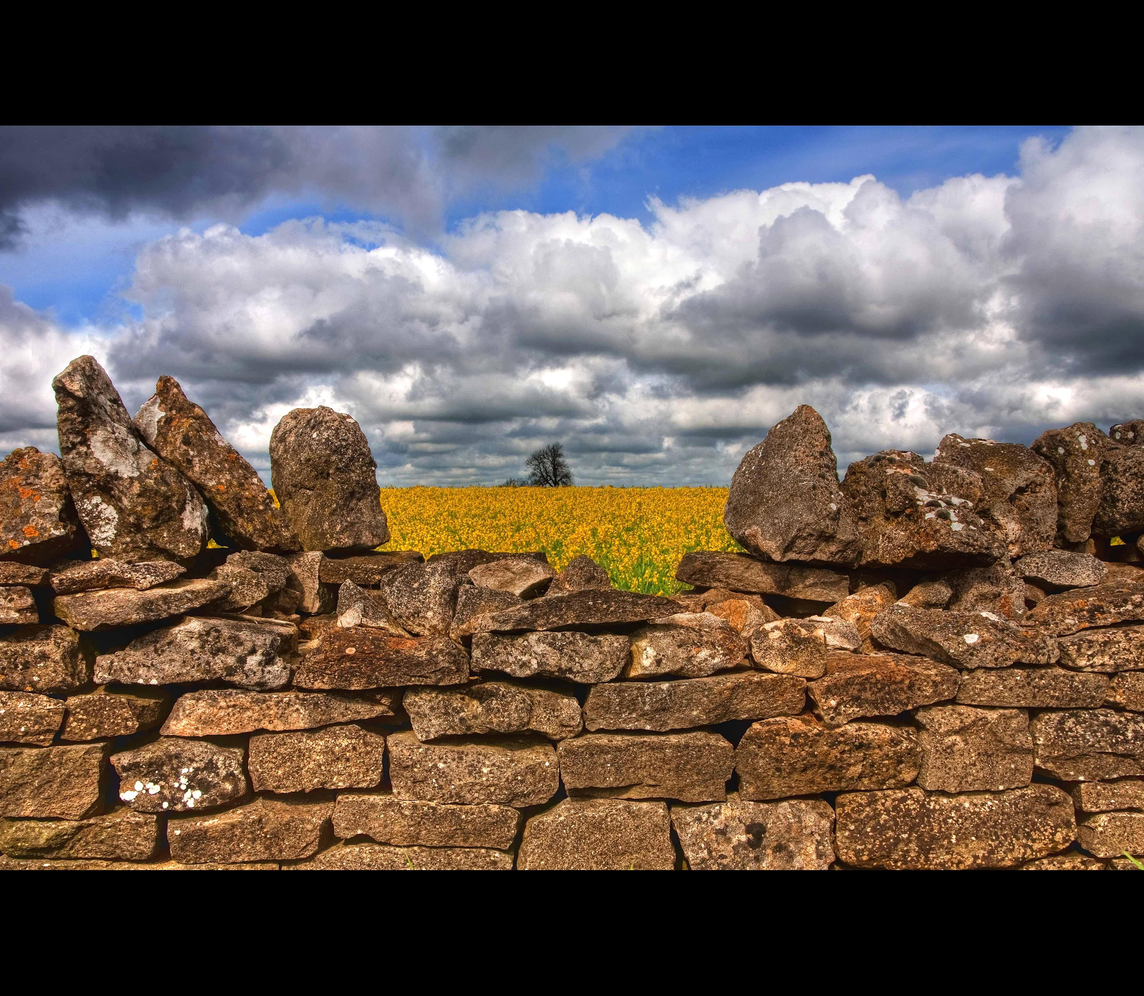 Wallpaper : landscape, rock, grass, sky, field, clouds