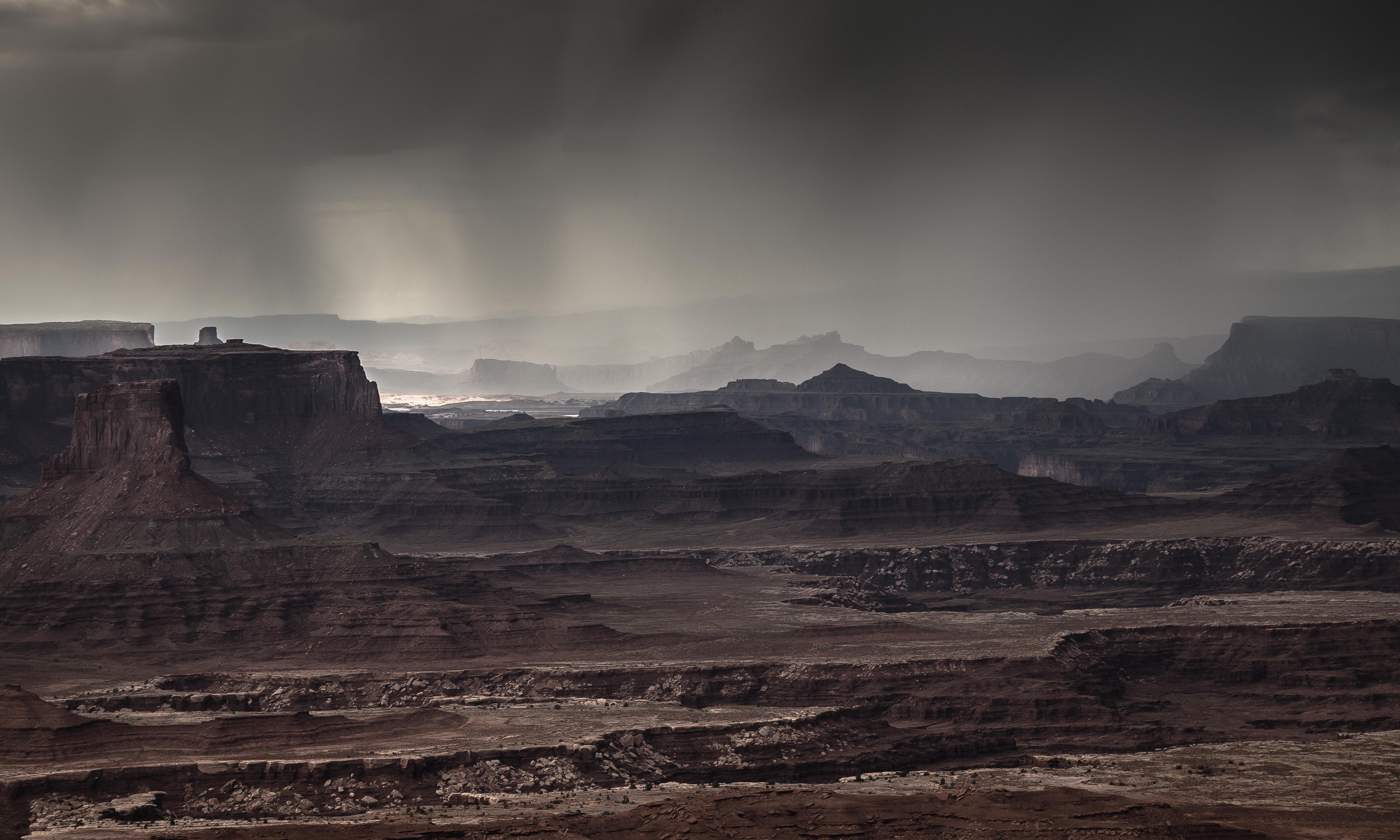 Wallpaper Landscape Rock Rain Storm Mist Sun Valley Mars Utah Western Plateau Vista Light 24105usml Canon5dmarkii Canyonlands Virga