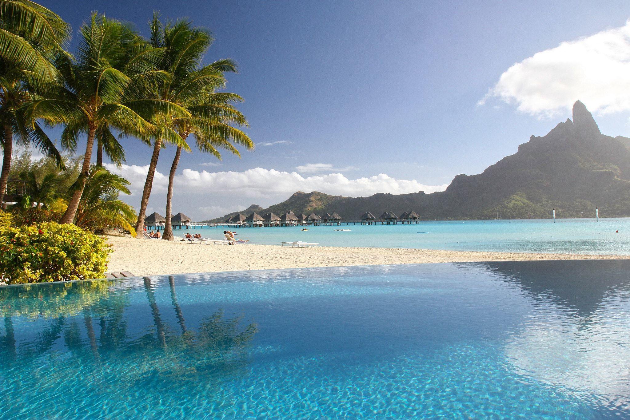 Lagoon Tropical Island: Wallpaper : Landscape, Sea, Bay, Shore, Beach, Coast, Palm