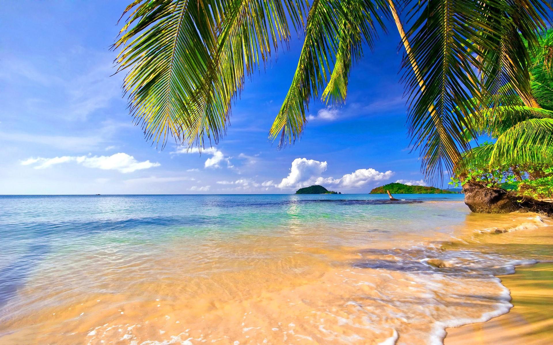 Обои на рабочий стол море солнце пляж 1366 768