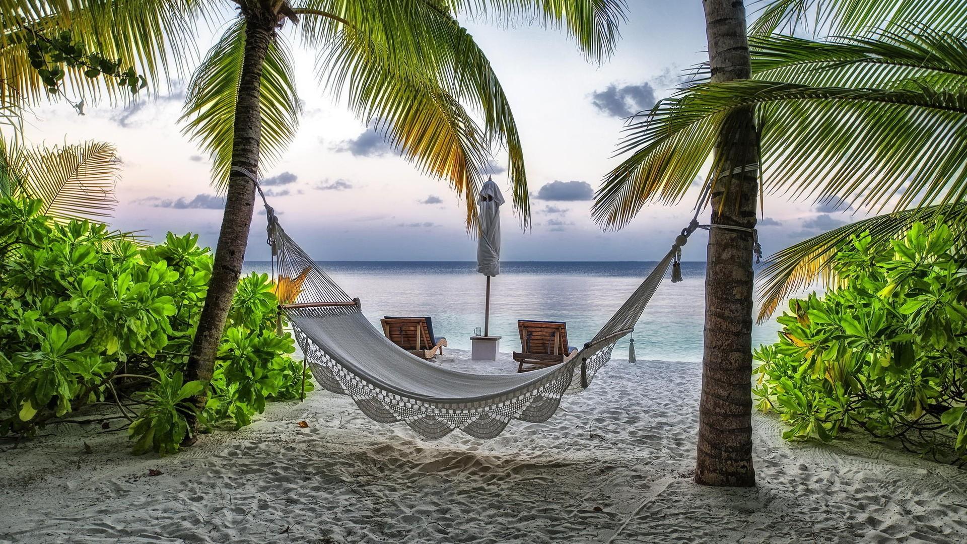 Fond d'écran : paysage, mer, plage, recours, tropical, jungle, Caraïbes, Hamacs, vacances, biens ...