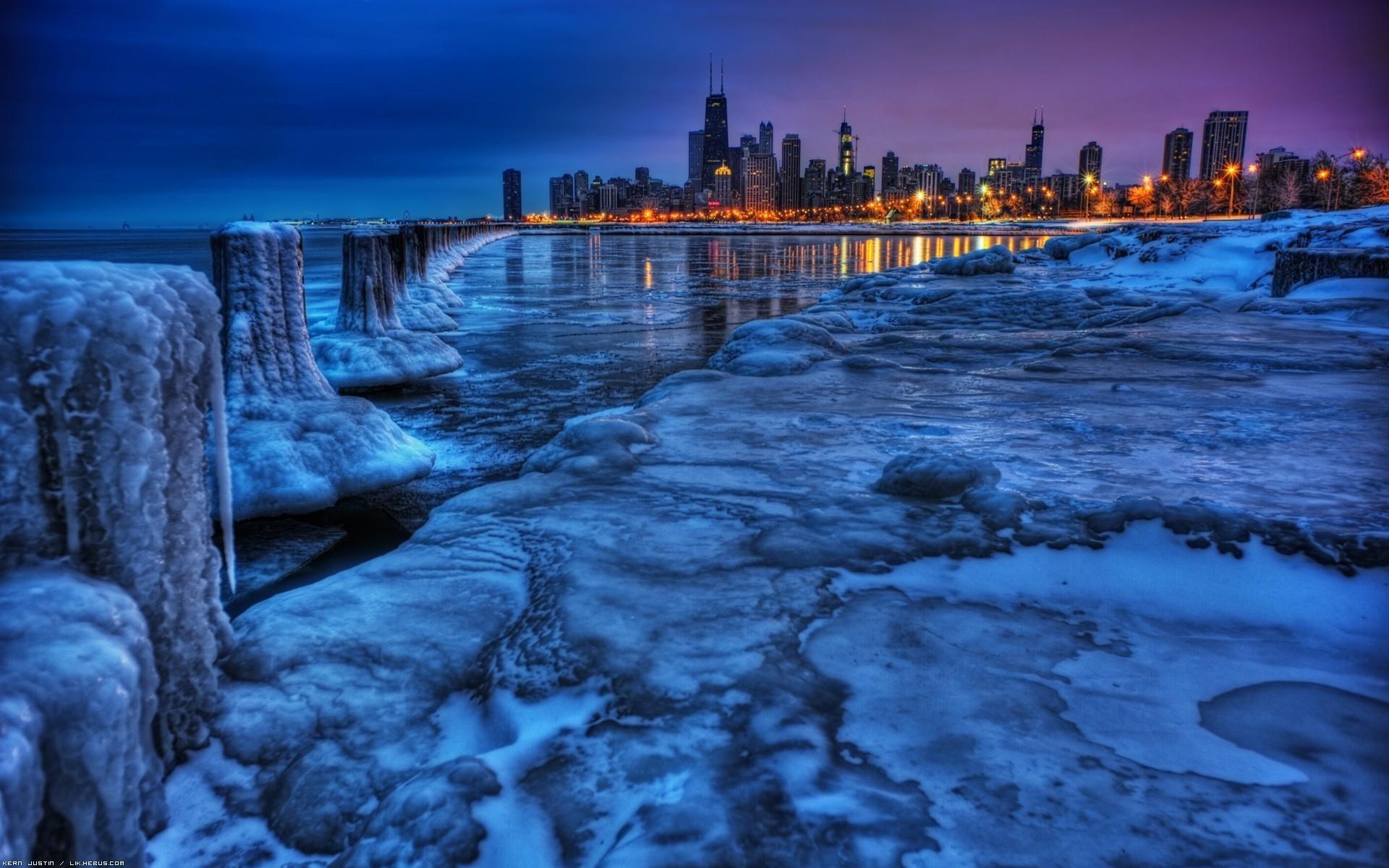 чикаго ночью зима фото
