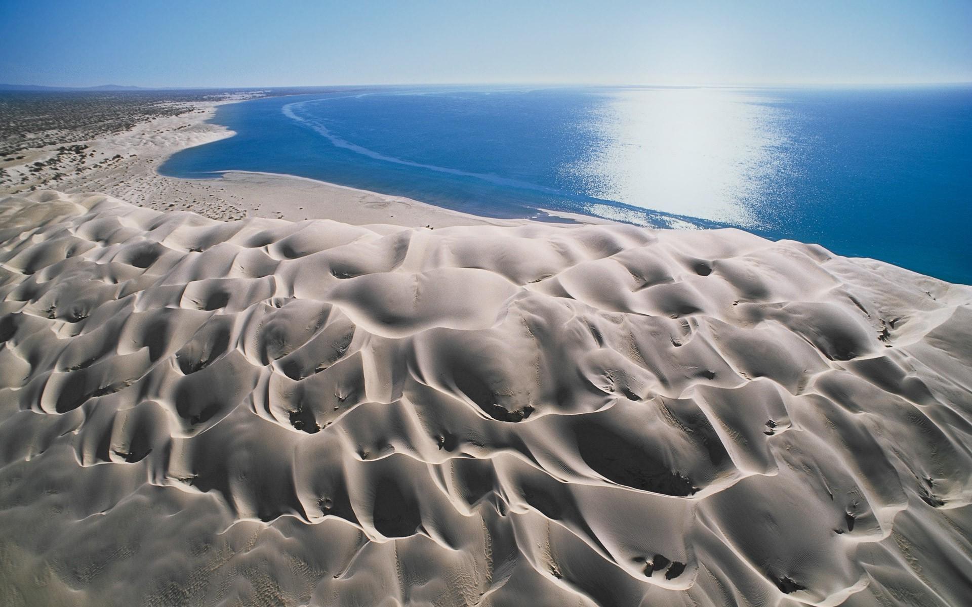 Landscape Sea Water Nature Sand Sky Beach Blue Wind Mexico Erosion Dune Formation Baja California Terrain