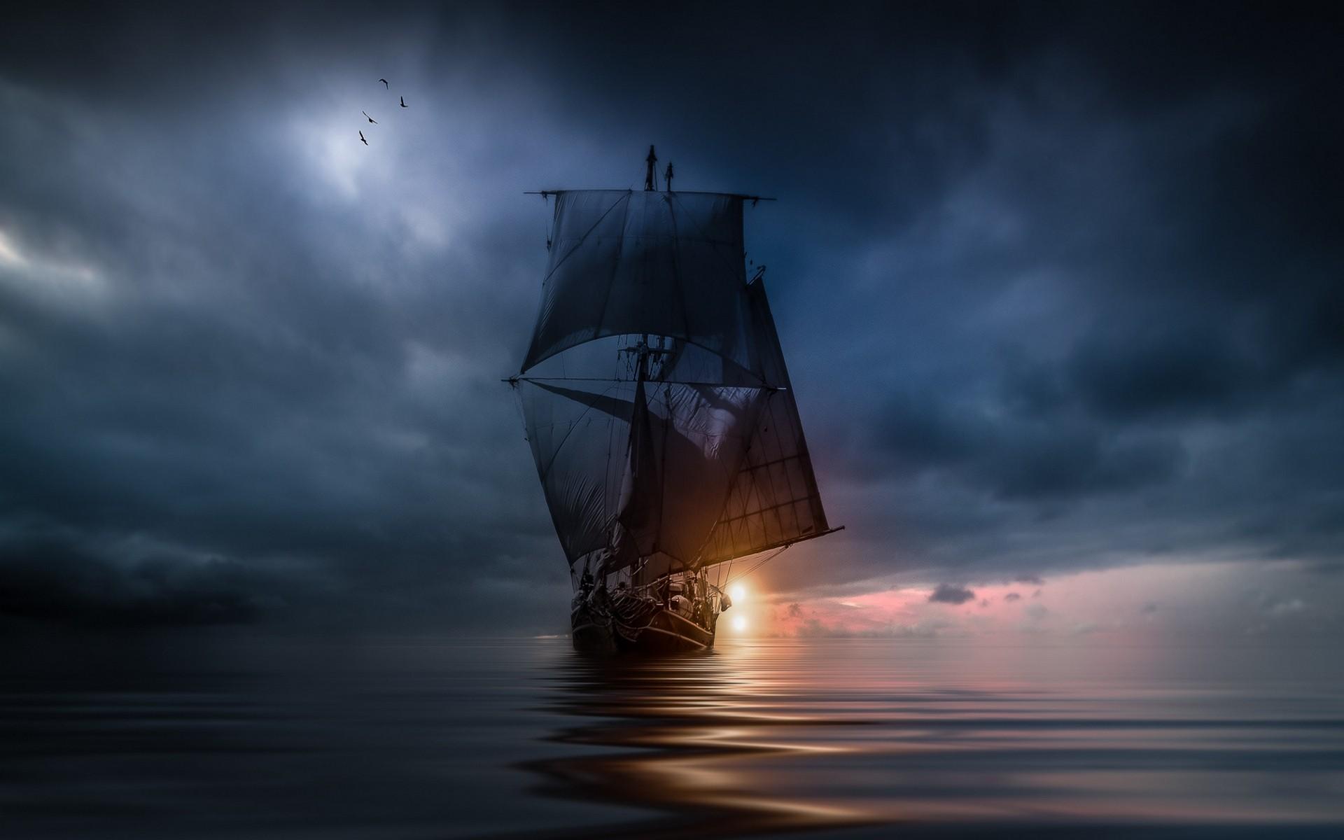 Segelschiffe auf dem meer sonnenuntergang  Hintergrundbilder : Landschaft, Schiff, Segelschiff, Vögel ...