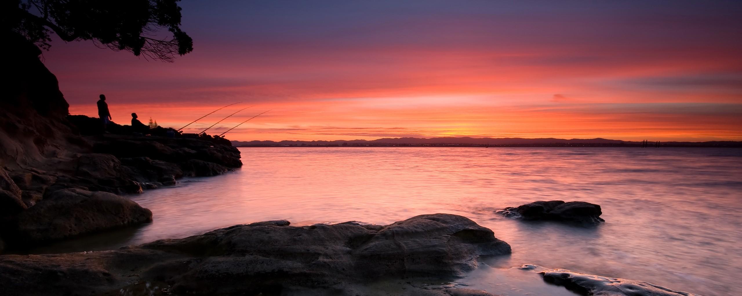 Landscape Simple Background Sunset Sea Bay Rock Shore Reflection Beach Sunrise Evening Morning Coast Horizon Dusk