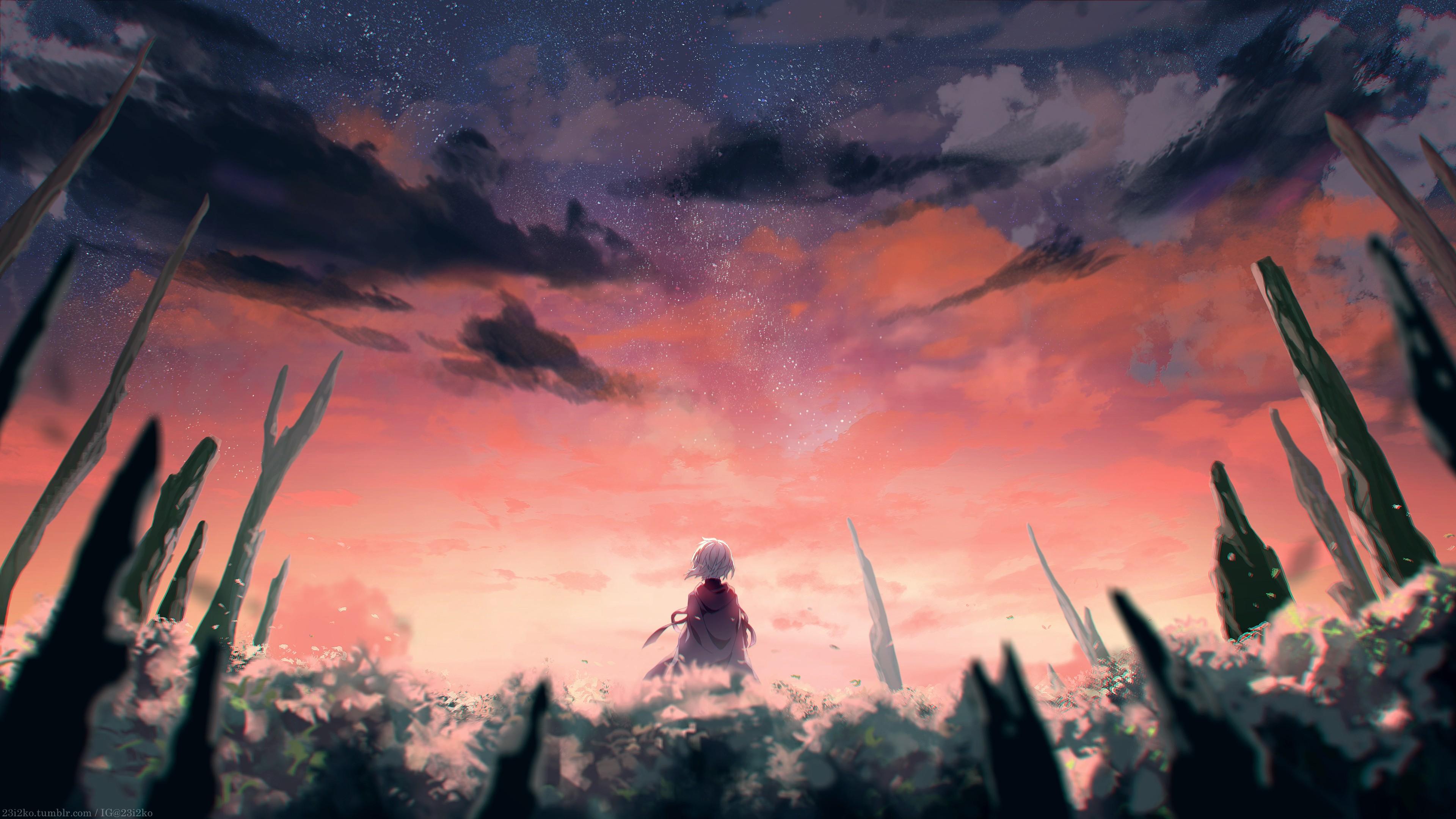 landscape-sky-red-sunset-anime-stars-fantasy-art-986546 Ideas For Anime Art Landscape @koolgadgetz.com.info
