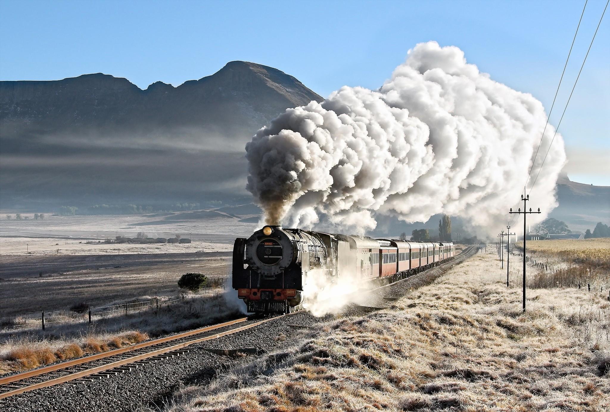 Wallpaper Landscape Sky Vehicle Smoke Train Railway