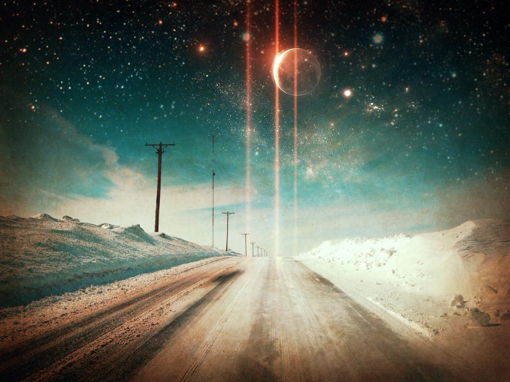デスクトップ壁紙 街路灯 夜 スペース 雪 冬 地平線