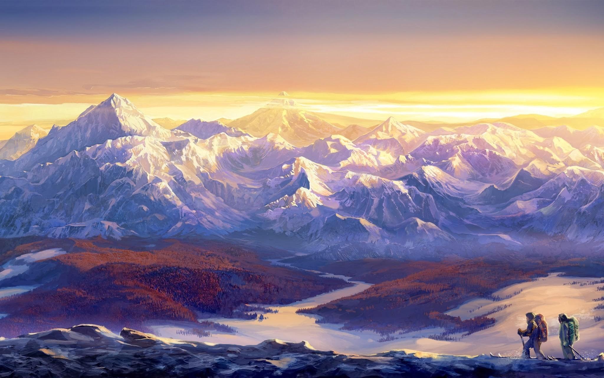 Wallpaper Pemandangan Matahari Terbenam Karya Seni Matahari