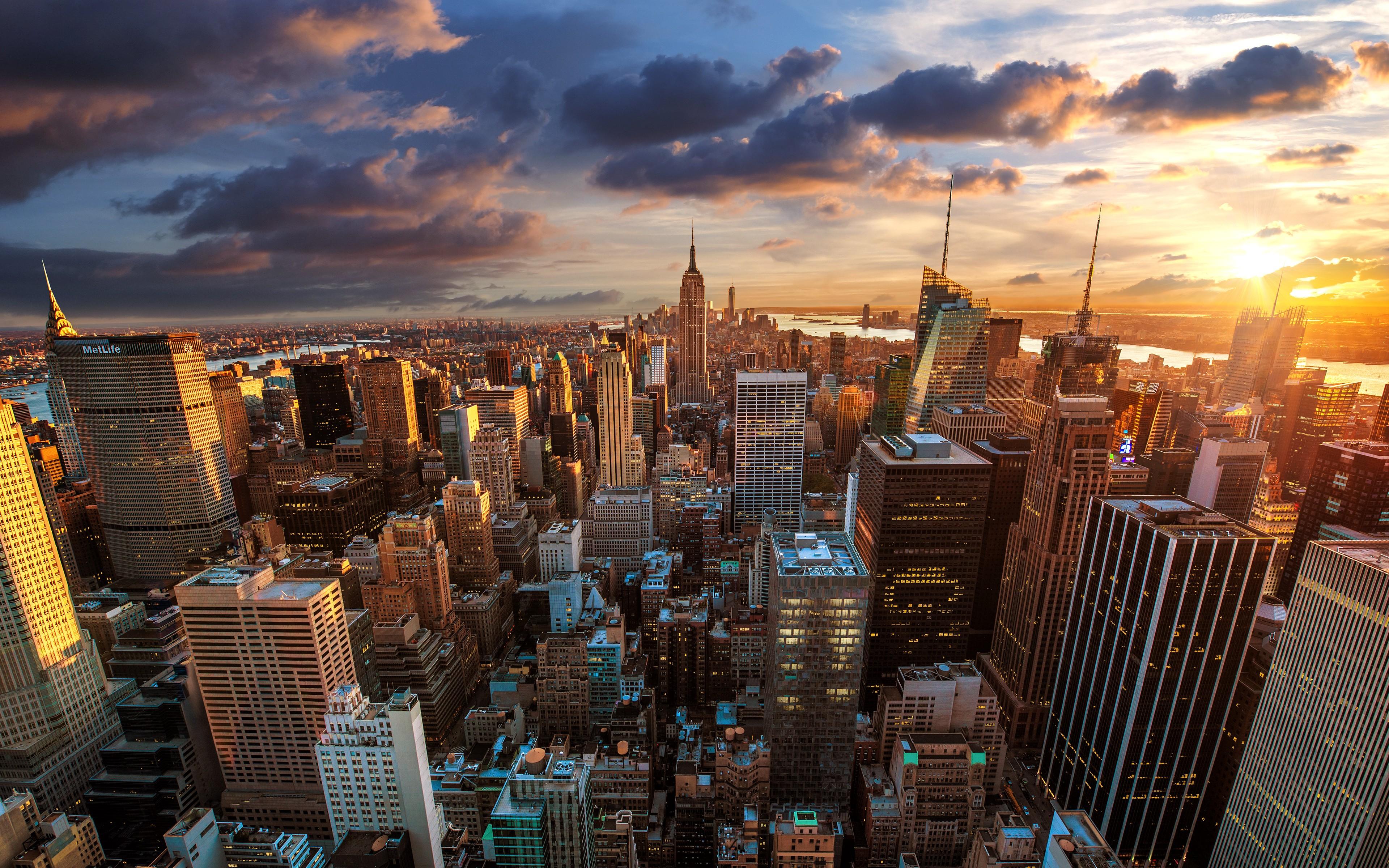 Обои buildings, downtown, skyscrapers, Sunset, сша, new york city. Города foto 9