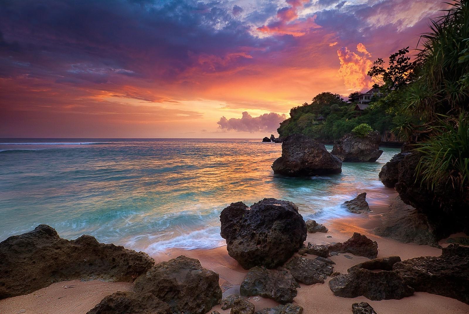 Fond d'écran : paysage, le coucher du soleil, mer, baie, Roche, la nature, rive, le sable, des ...