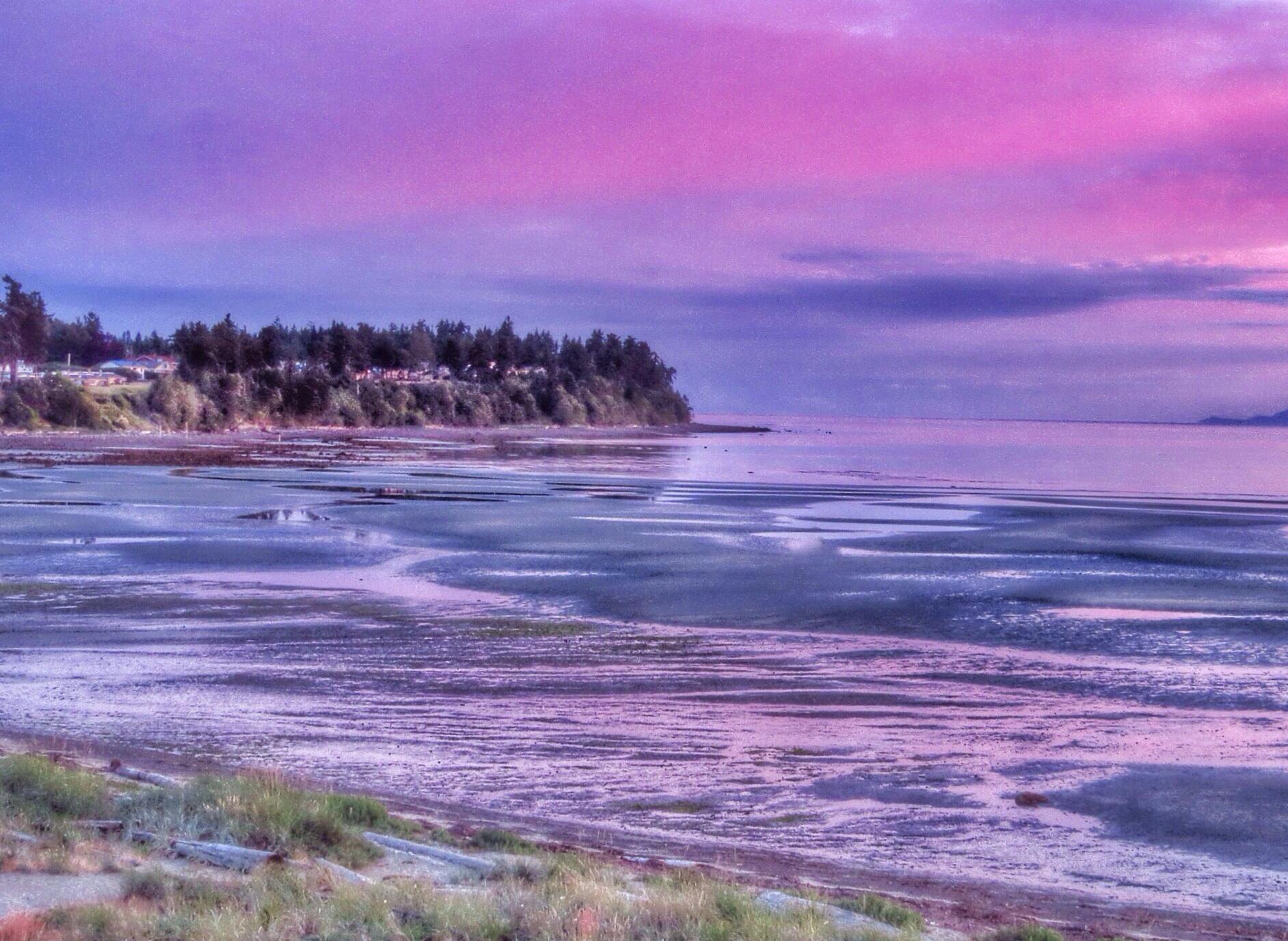 wallpaper landscape sunset sea bay water shore sky