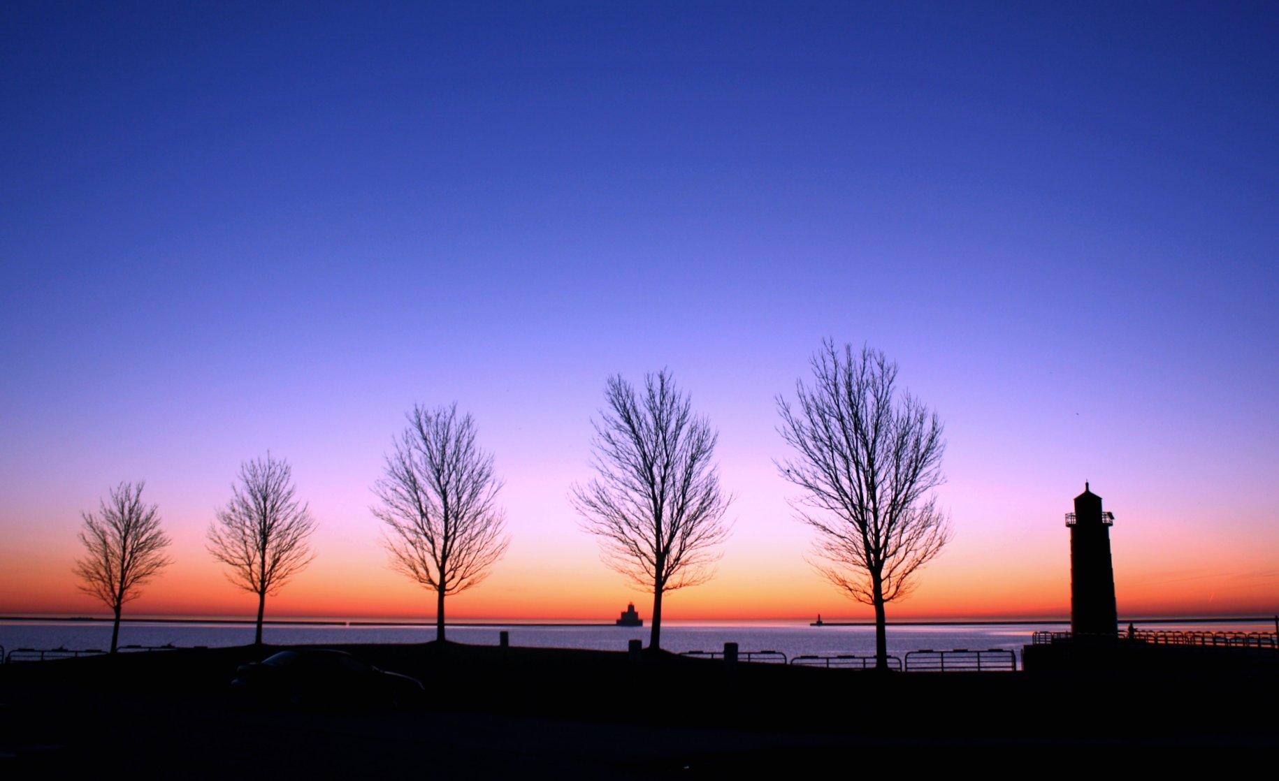 Wallpaper Landscape Sunset Silhouette Sunrise Calm