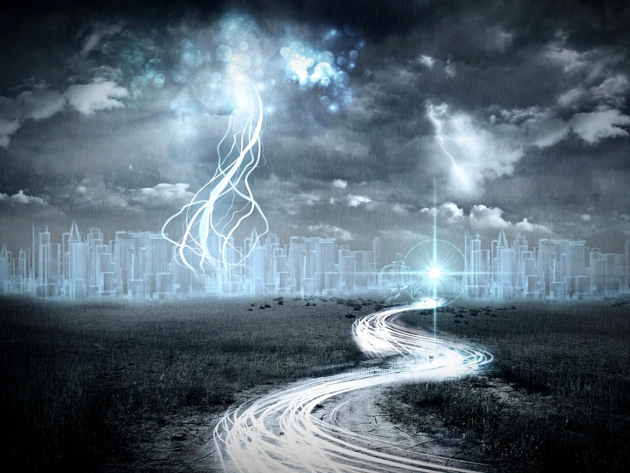 Sfondi Paesaggio Bianca Notte Cielo Fulmine Tempesta Verde