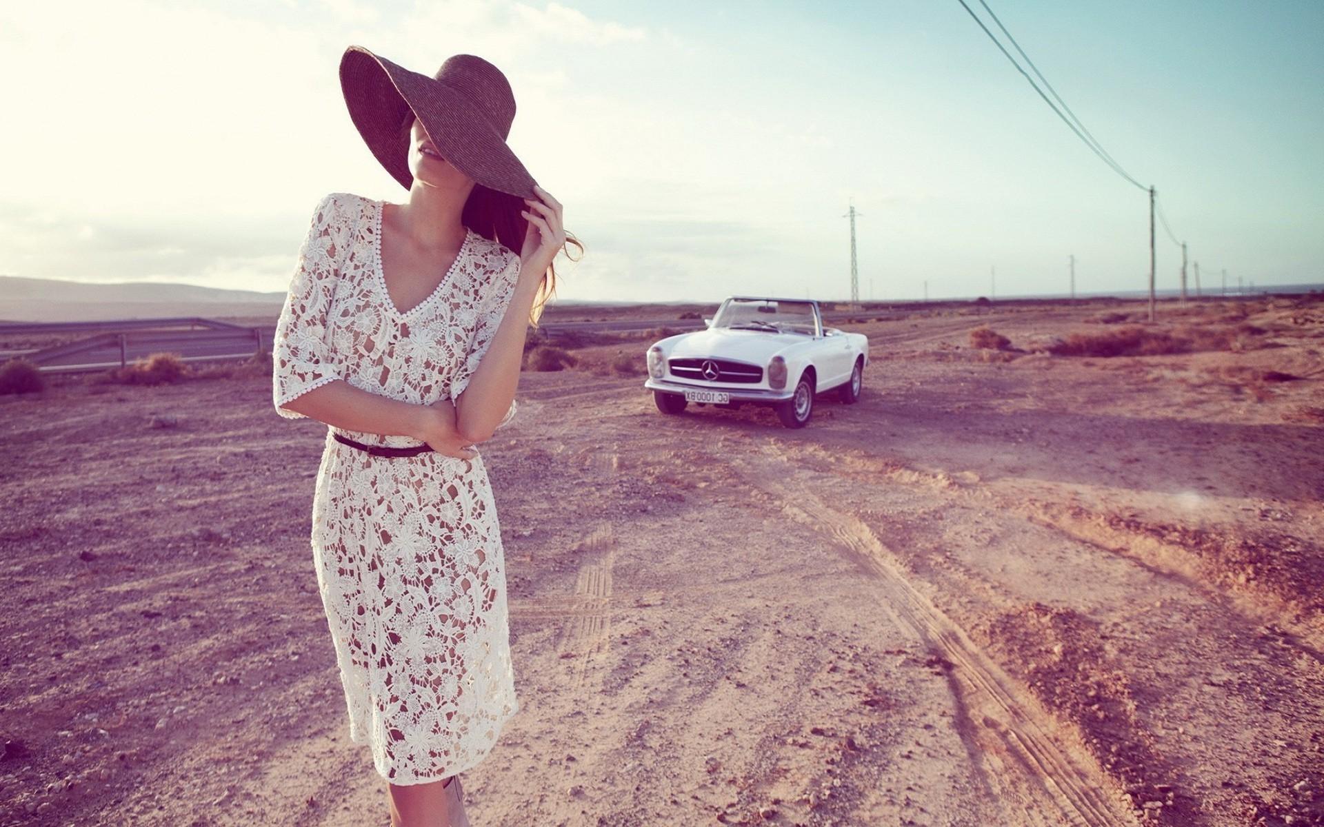 Landscape Women Model Car Photography Dress See Through Clothing Mercedes Benz Fashion Pink Spring Vintage