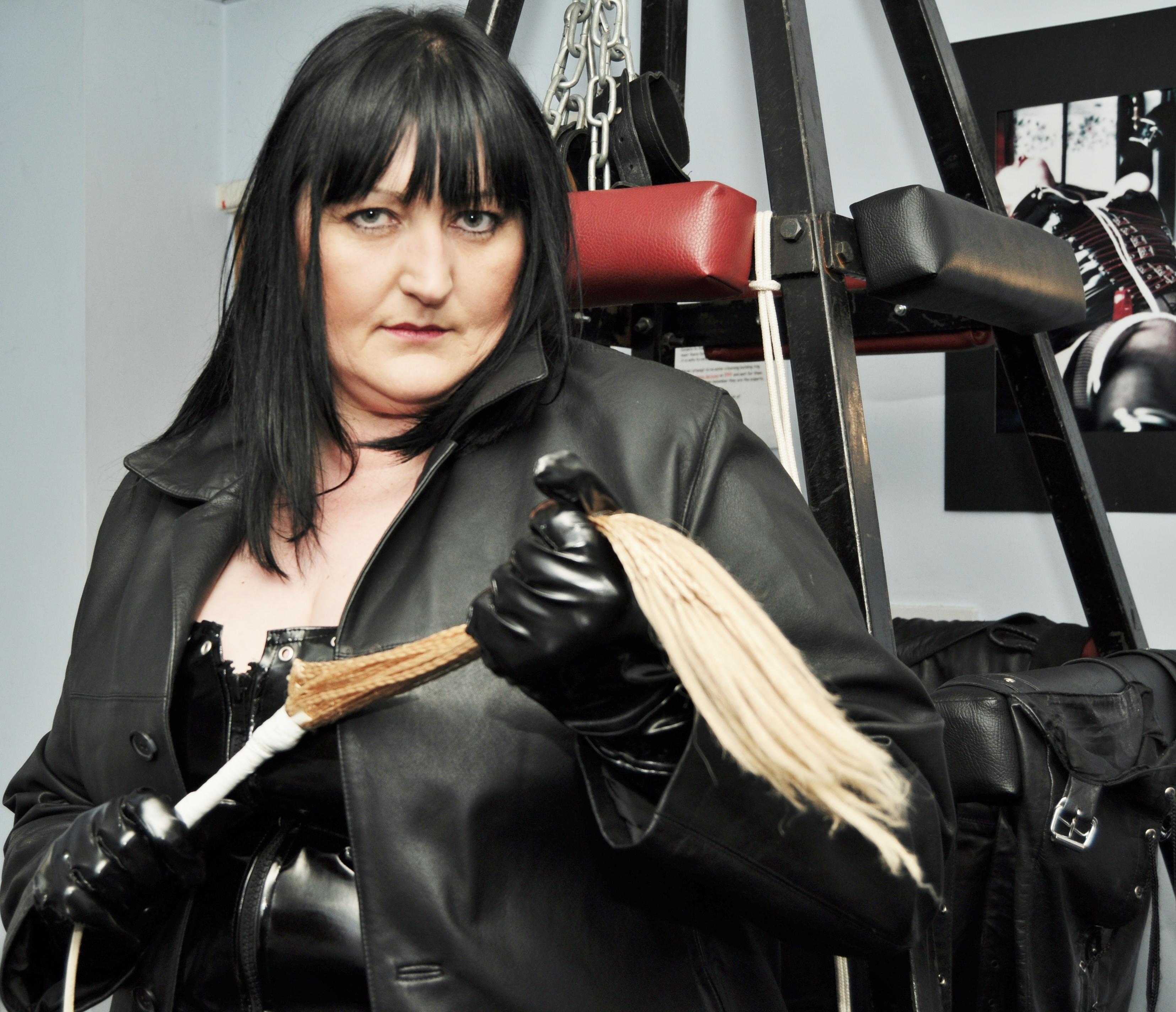 Leather coat and bondage