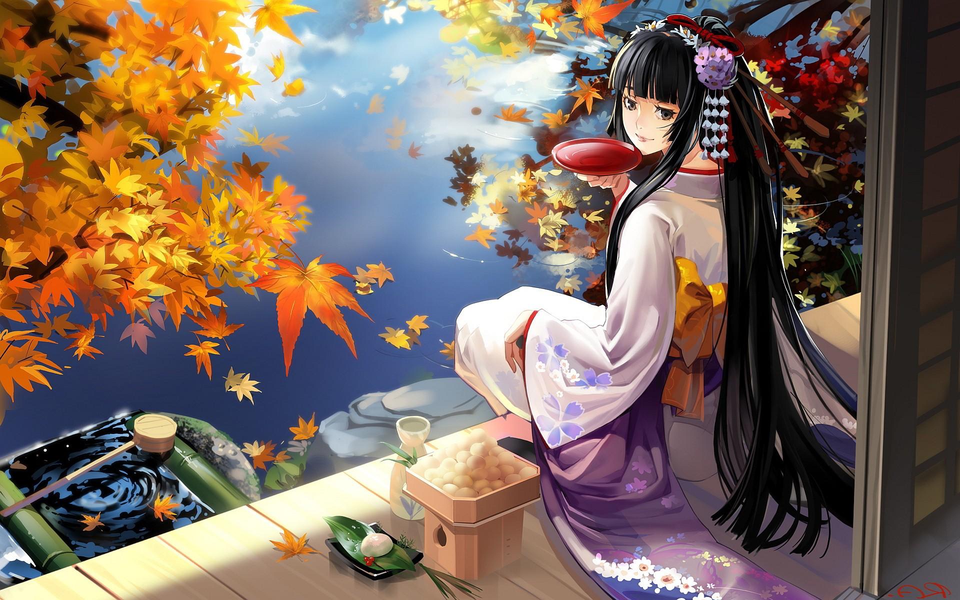 Wallpaper Leaves Anime Girls Original Characters