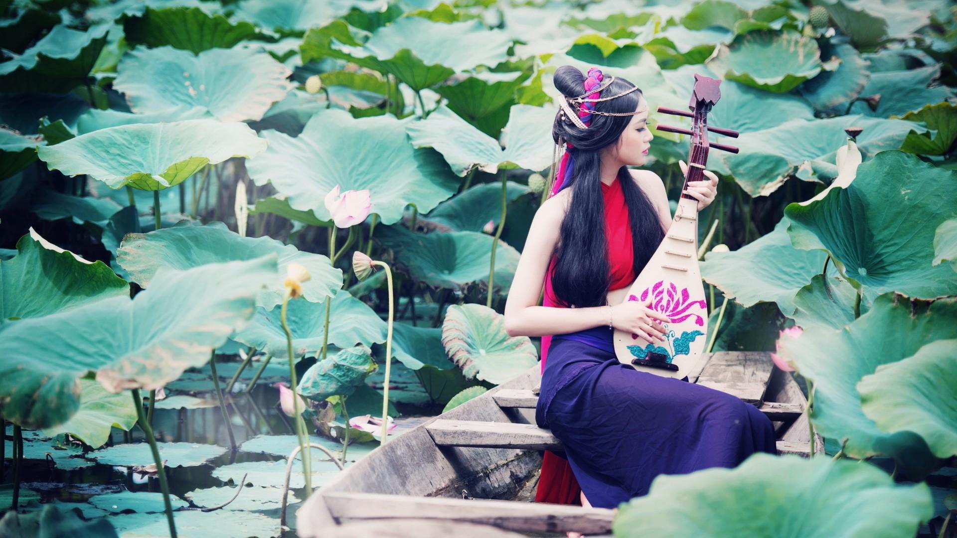 Fantastic Wallpaper Music Spring - leaves-boat-women-outdoors-women-model-flowers-long-hair-lake-water-nature-Asian-sitting-music-green-blue-dark-hair-spring-playing-water-lilies-color-flower-beauty-season-146673  Photograph_866551.jpg