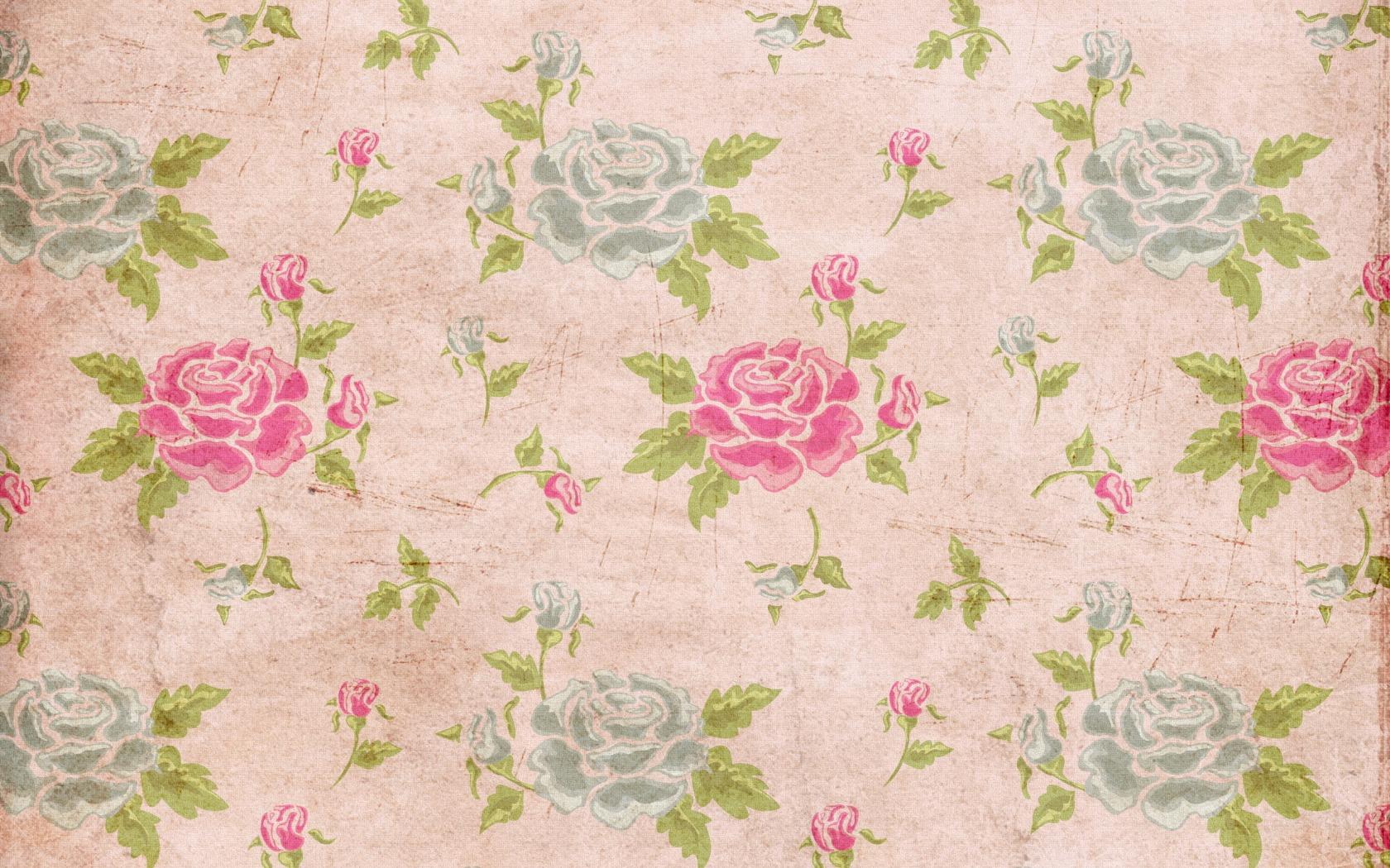 Wallpaper Leaves Flowers Pattern Rose Texture Circle