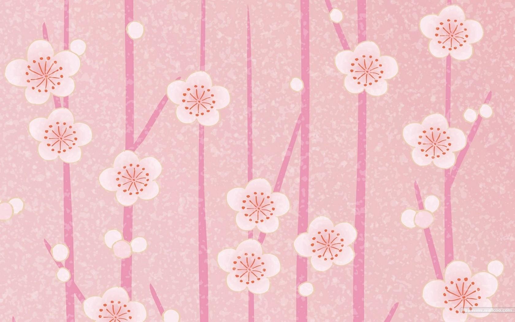Wallpaper Leaves Flowers Pattern Texture Circle Pink