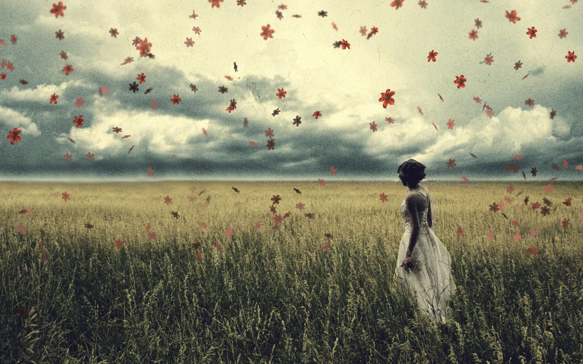 Leaves Women Love Grass Sky Field Morning Wind Horizon Cloud Flower Grassland Plant Meadow Plain 1920x1200