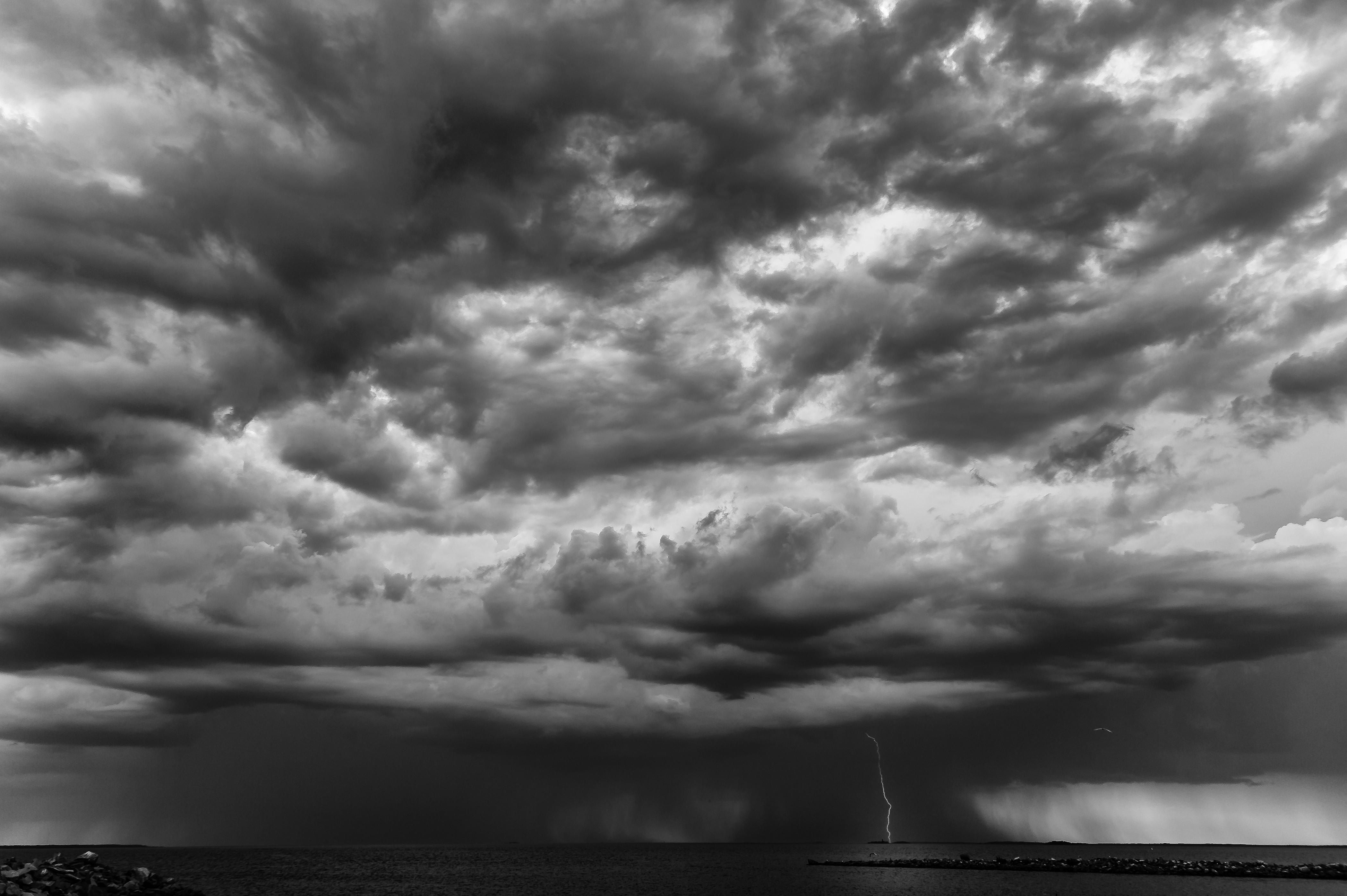 Sfondi Leggero Mare Bianco E Nero Bw Nube Paesaggio Marino
