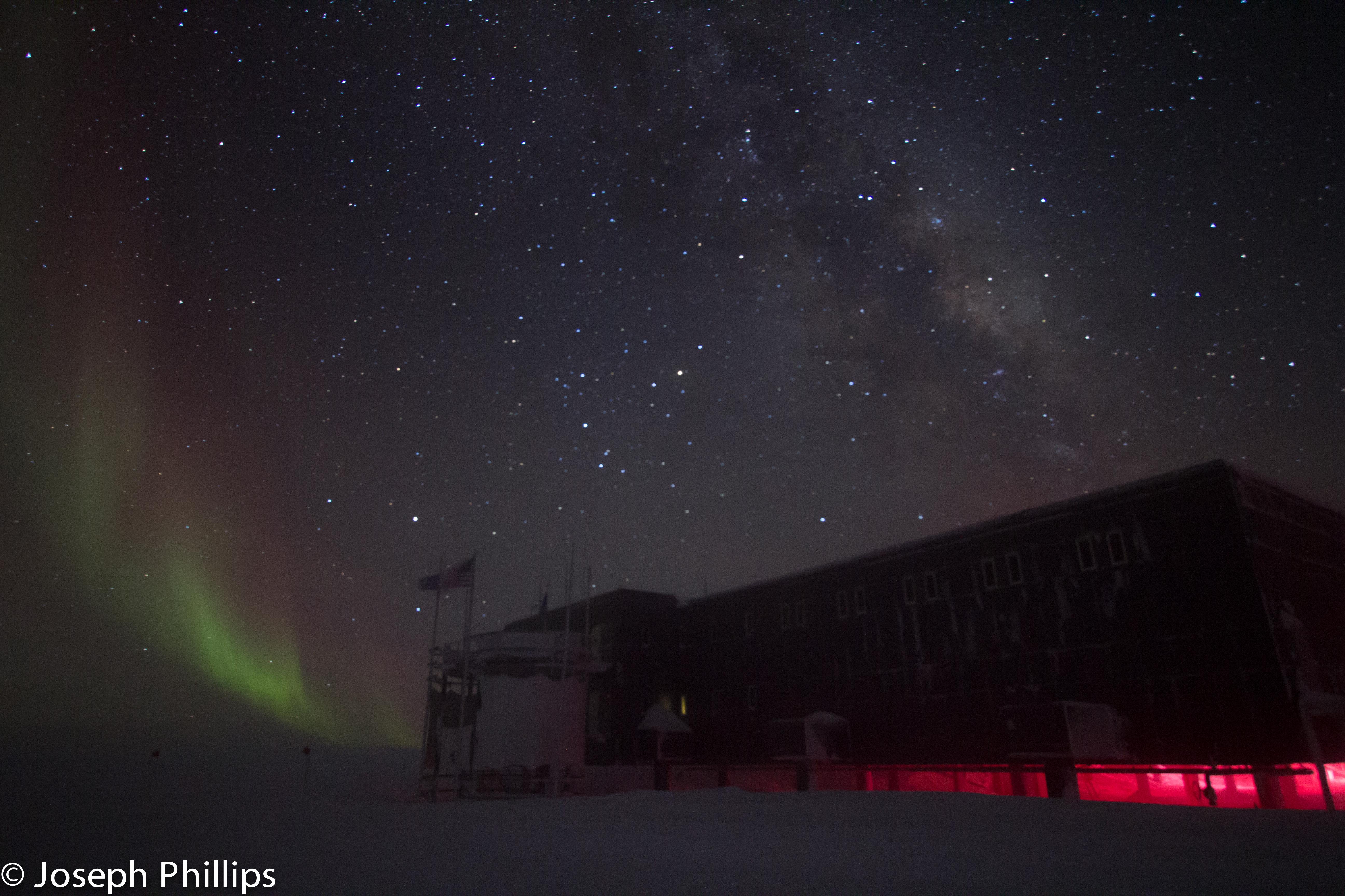 light snow tractor ice station way scott lights south snowdrift Antarctica pole southern Aurora milky geographic