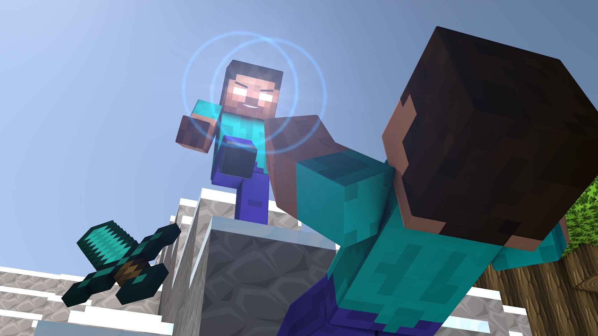 Fond Décran Lumières Anime Minecraft Bleu Combat