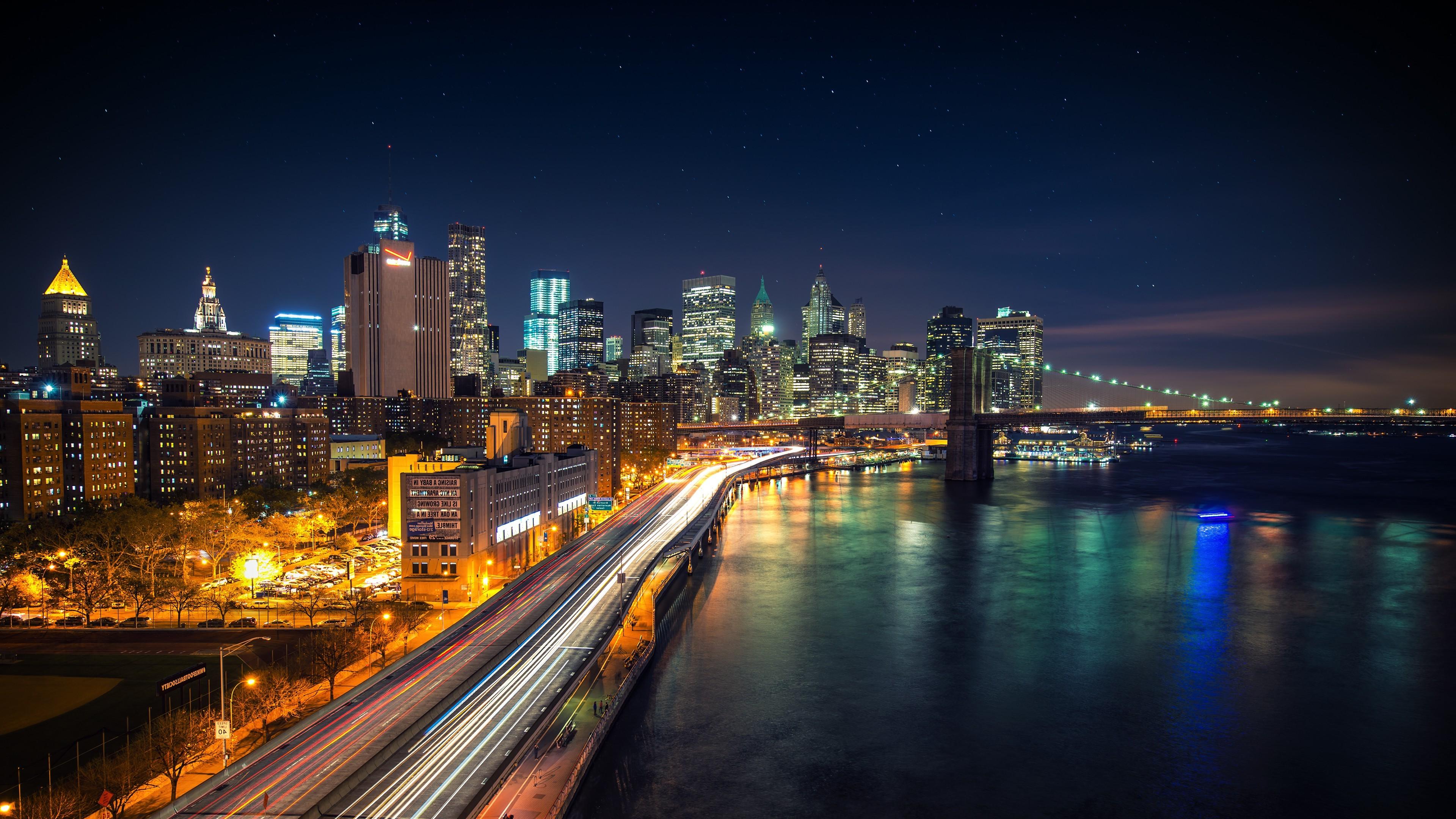 Wallpaper Lights City Cityscape Night Reflection Road Long Exposure Stars Skyline Skyscraper Evening Bridge Brooklyn River